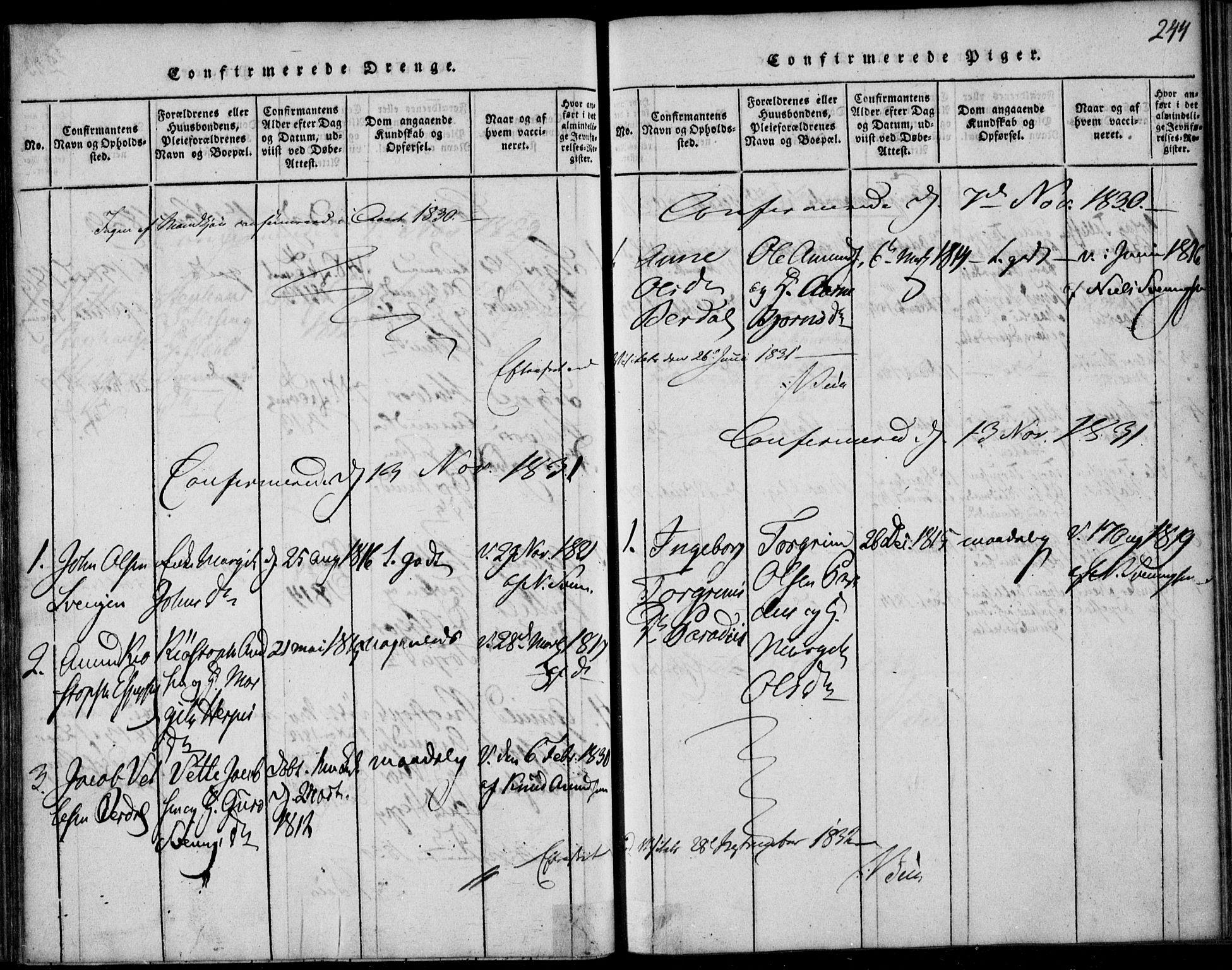 SAKO, Vinje kirkebøker, F/Fb/L0001: Ministerialbok nr. II 1, 1814-1843, s. 244