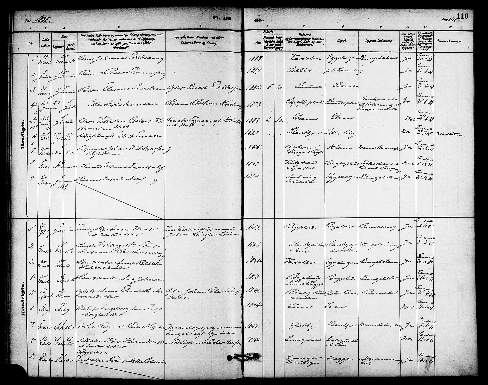 SAT, Ministerialprotokoller, klokkerbøker og fødselsregistre - Nord-Trøndelag, 740/L0378: Ministerialbok nr. 740A01, 1881-1895, s. 110