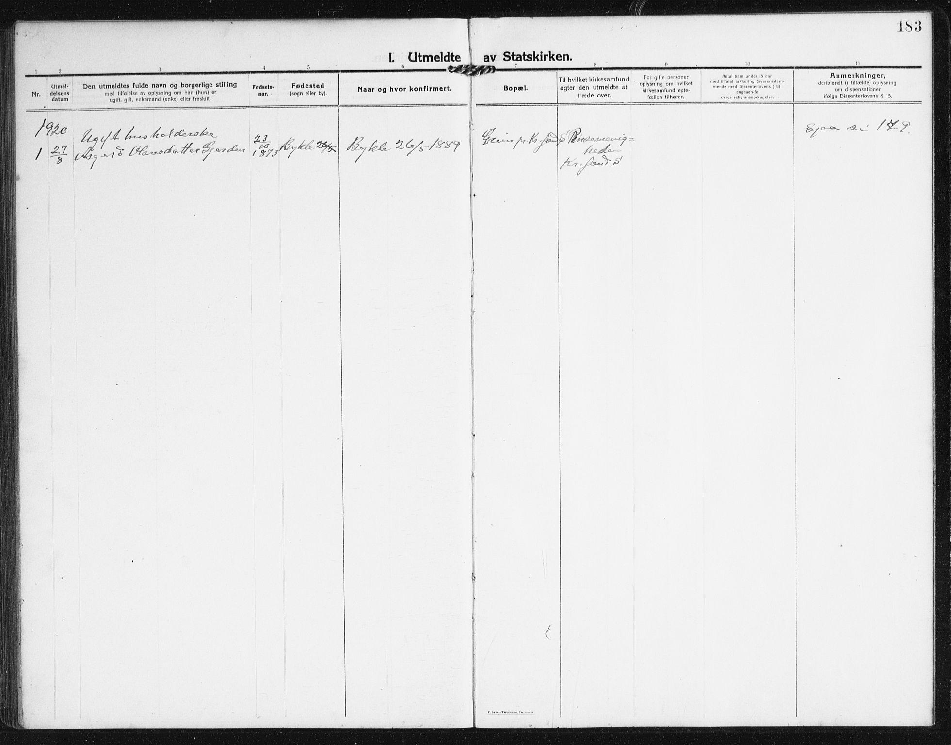 SAK, Valle sokneprestkontor, F/Fb/Fba/L0004: Klokkerbok nr. B 4, 1917-1944, s. 183
