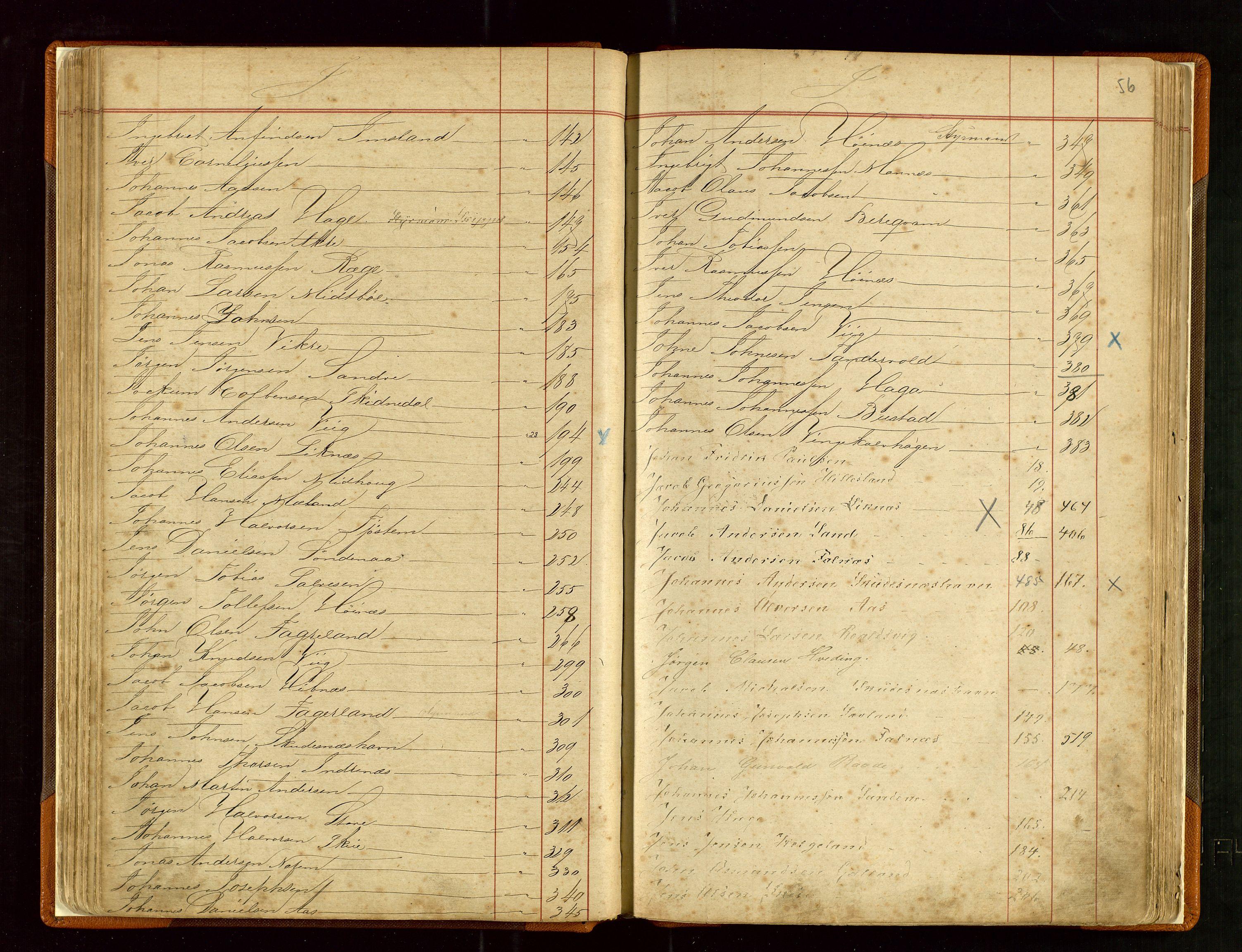 SAST, Haugesund sjømannskontor, F/Fb/Fba/L0003: Navneregister med henvisning til rullenummer (fornavn) Haugesund krets, 1860-1948, s. 56