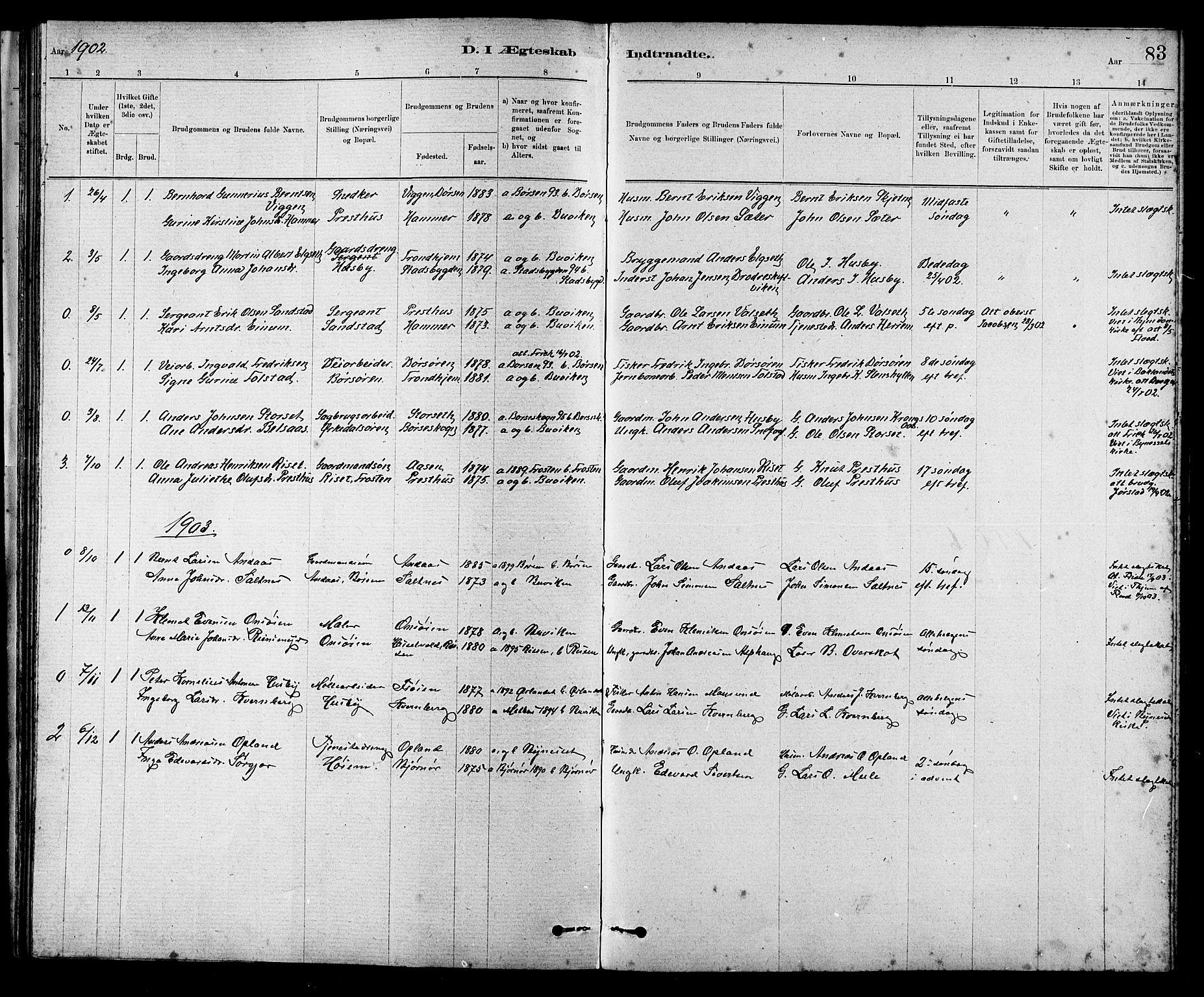 SAT, Ministerialprotokoller, klokkerbøker og fødselsregistre - Sør-Trøndelag, 666/L0790: Klokkerbok nr. 666C03, 1885-1908, s. 83