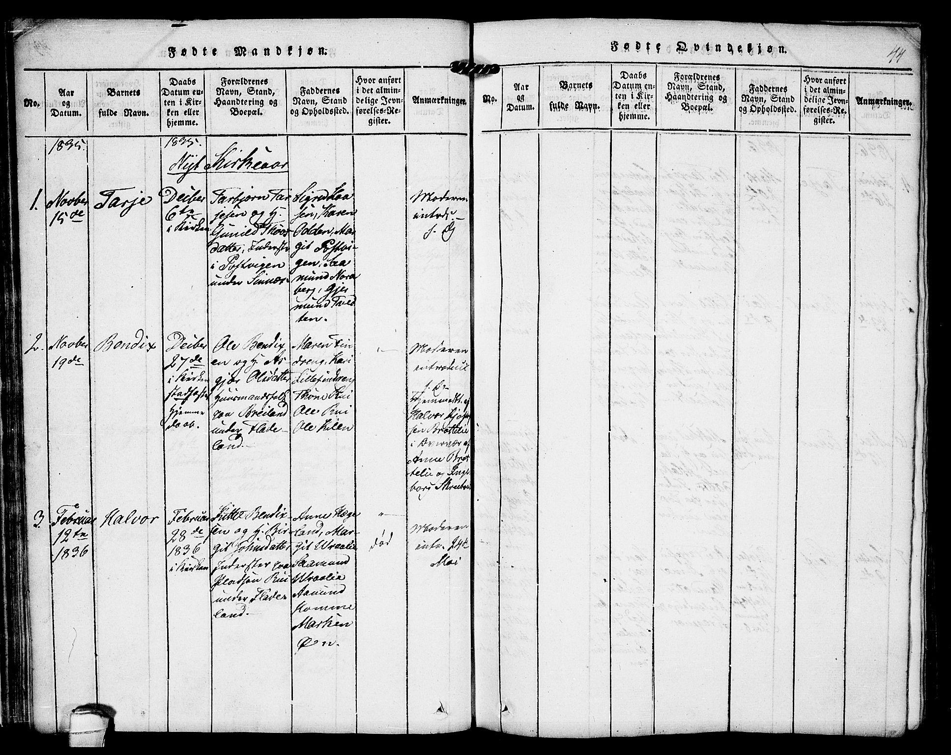 SAKO, Kviteseid kirkebøker, F/Fc/L0001: Ministerialbok nr. III 1, 1815-1836, s. 44