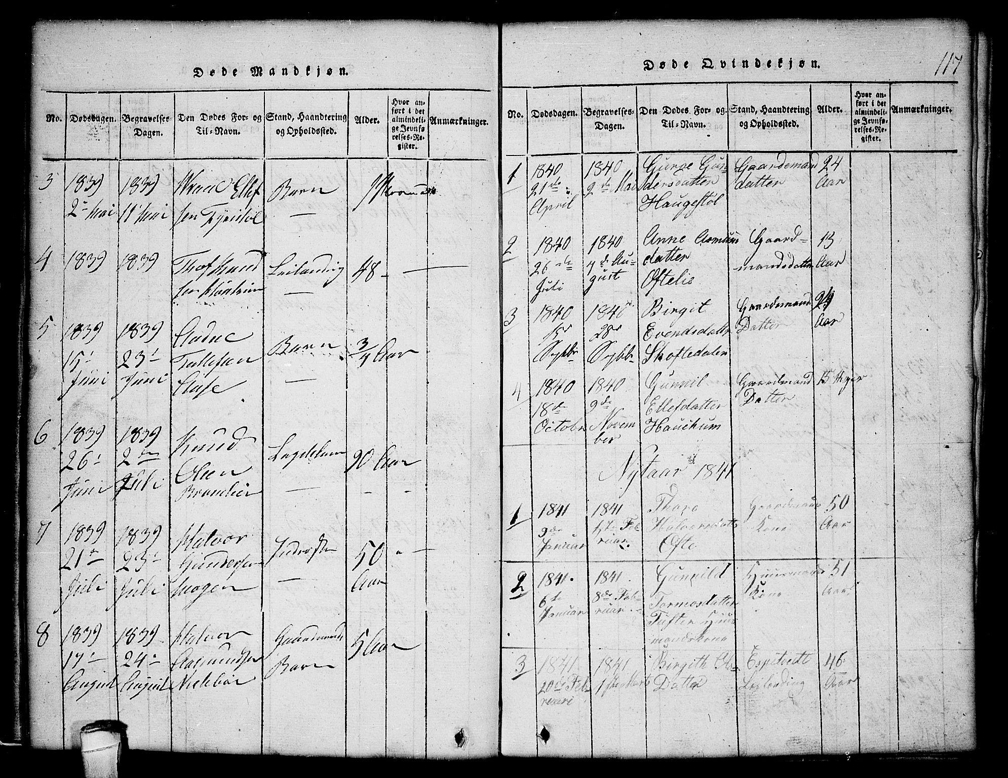 SAKO, Lårdal kirkebøker, G/Gc/L0001: Klokkerbok nr. III 1, 1815-1854, s. 117