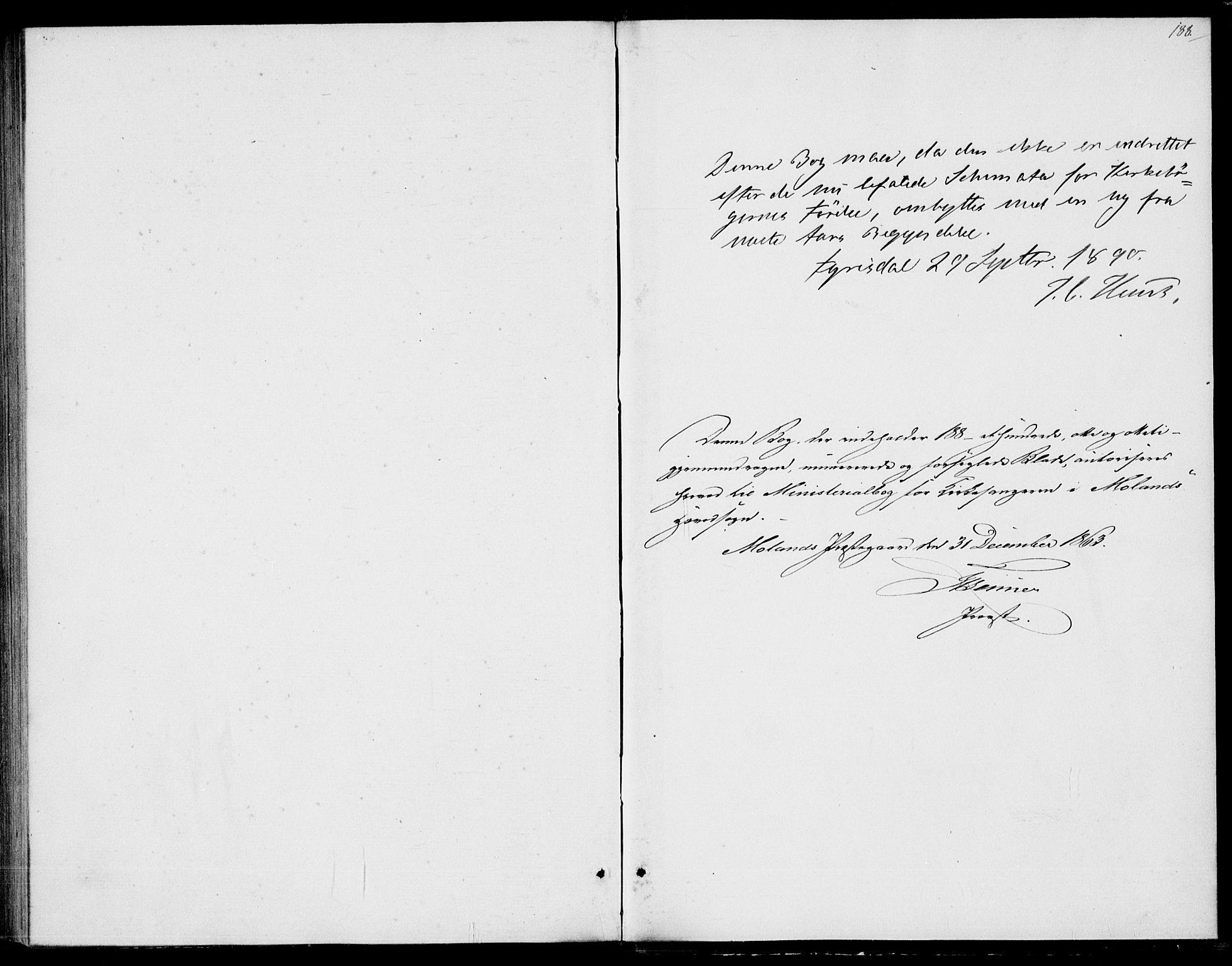 SAKO, Fyresdal kirkebøker, G/Ga/L0004: Klokkerbok nr. I 4, 1864-1892, s. 188