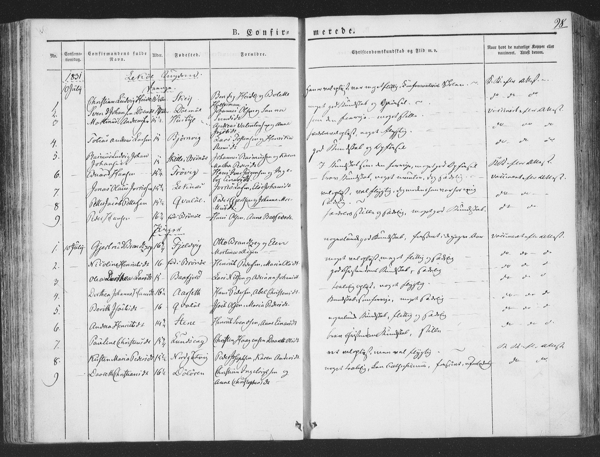 SAT, Ministerialprotokoller, klokkerbøker og fødselsregistre - Nord-Trøndelag, 780/L0639: Ministerialbok nr. 780A04, 1830-1844, s. 98
