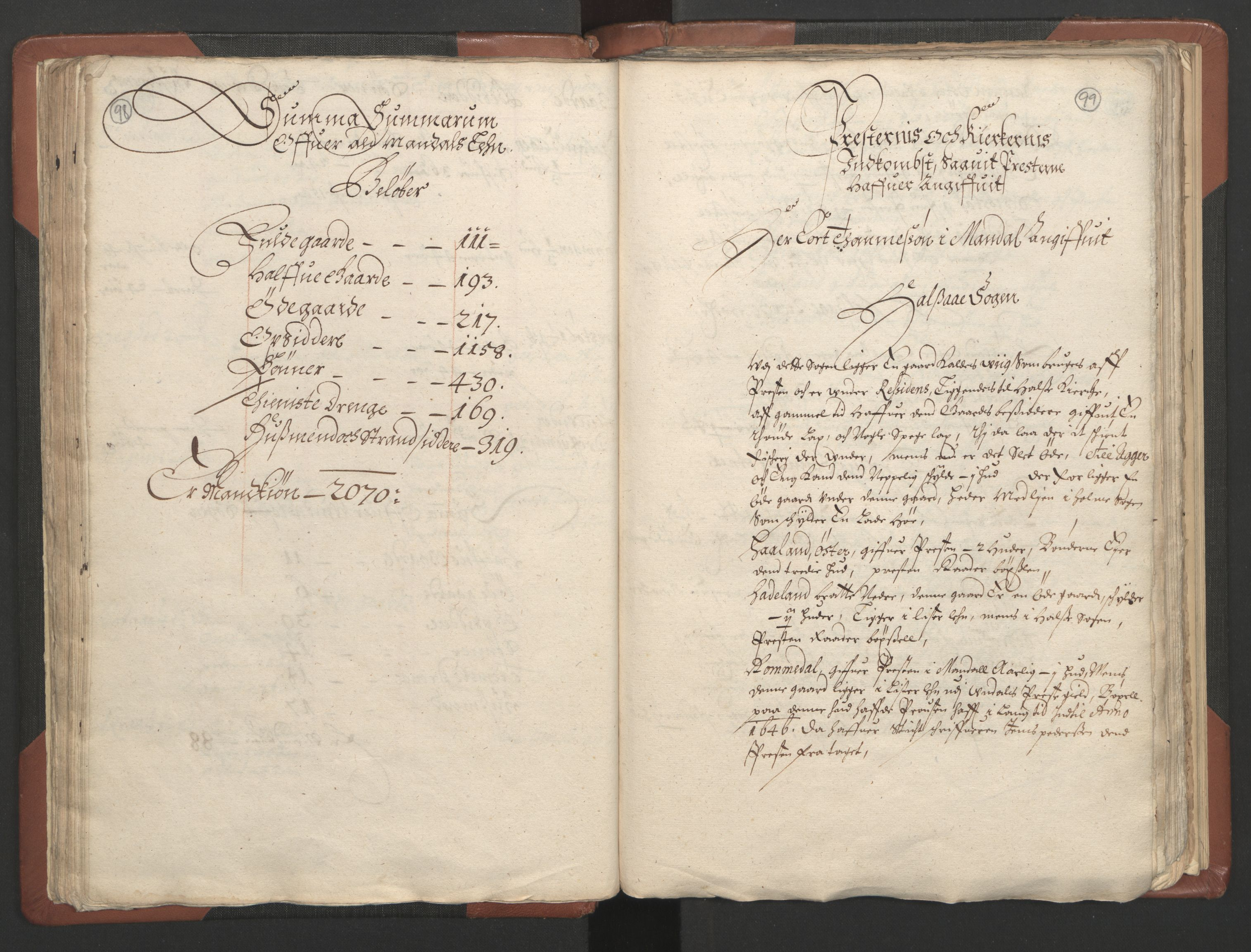 RA, Fogdenes og sorenskrivernes manntall 1664-1666, nr. 9: Mandal len, 1664-1666, s. 98-99
