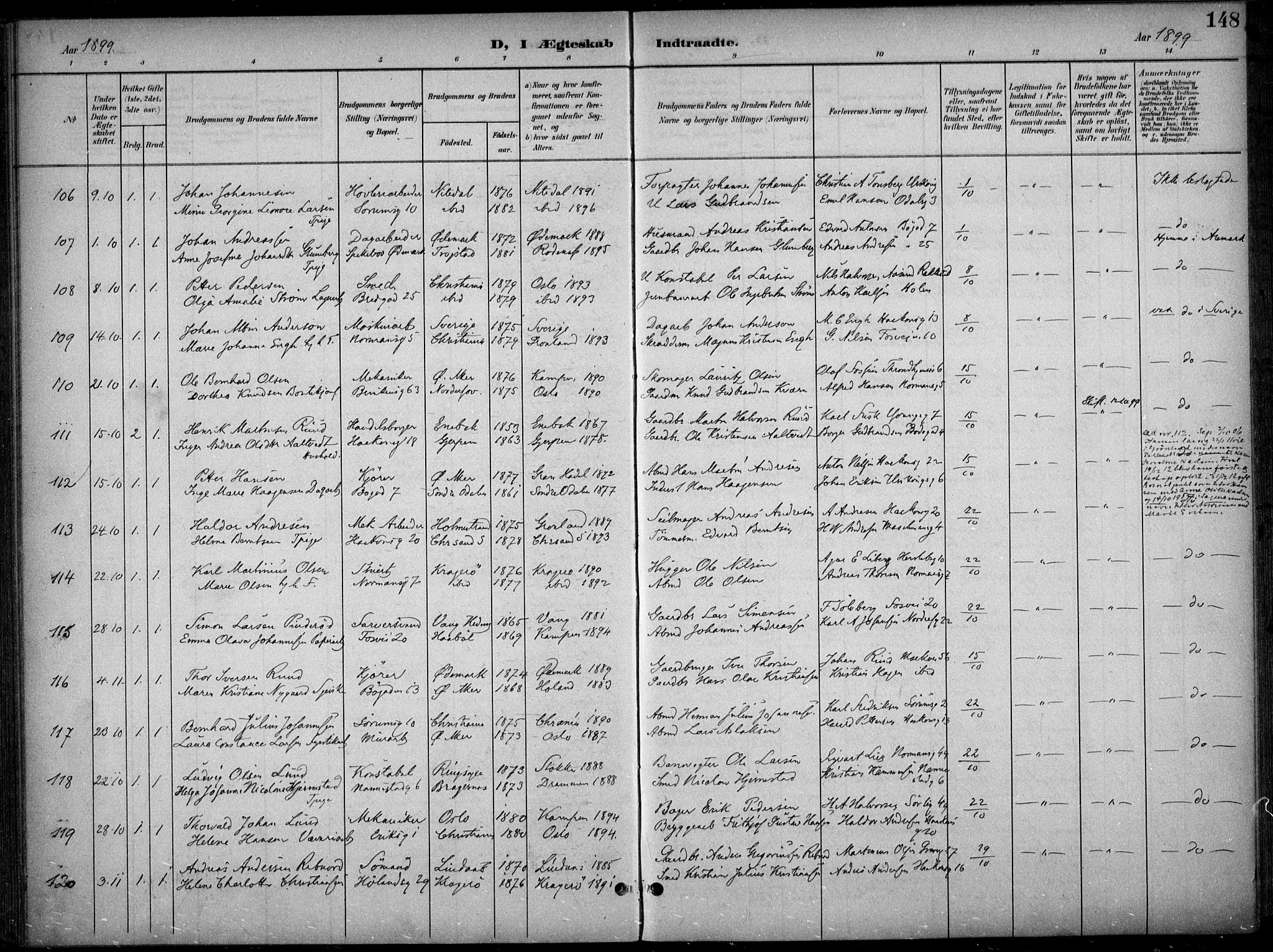 SAO, Kampen prestekontor Kirkebøker, F/Fa/L0009: Ministerialbok nr. I 9, 1899-1911, s. 148
