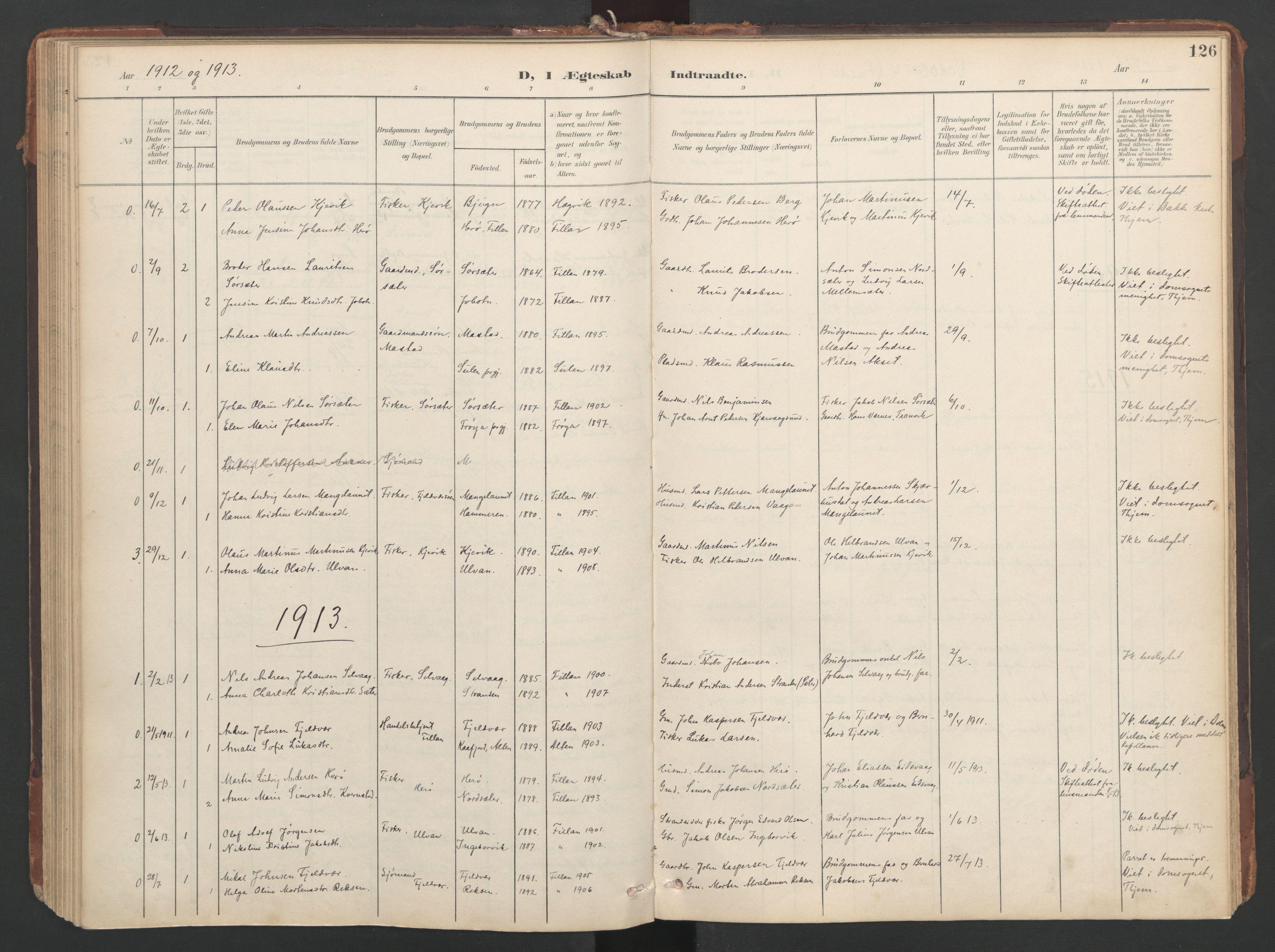 SAT, Ministerialprotokoller, klokkerbøker og fødselsregistre - Sør-Trøndelag, 638/L0568: Ministerialbok nr. 638A01, 1901-1916, s. 126