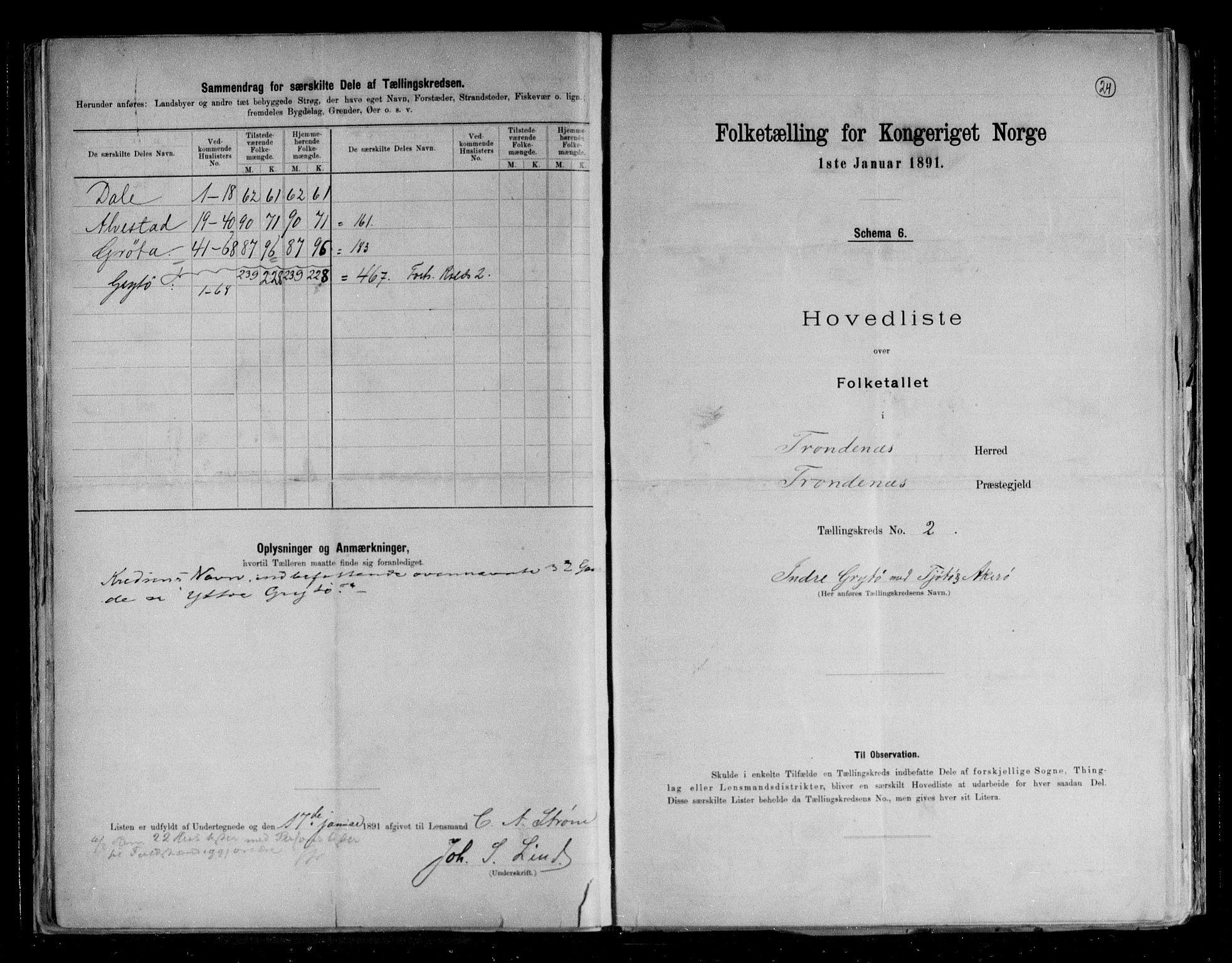 RA, Folketelling 1891 for 1914 Trondenes herred, 1891, s. 6