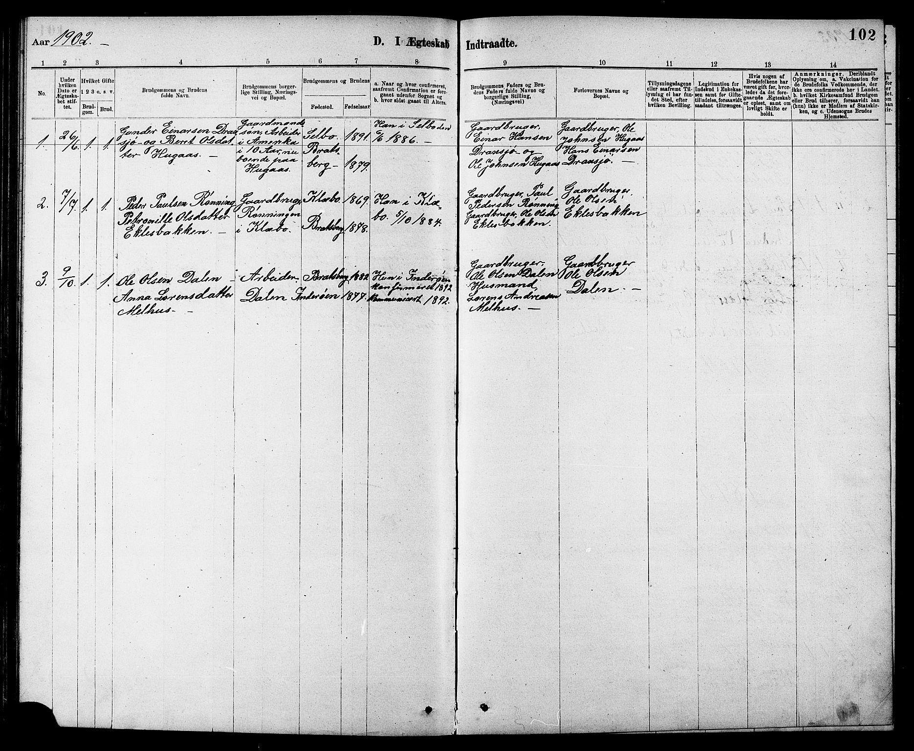 SAT, Ministerialprotokoller, klokkerbøker og fødselsregistre - Sør-Trøndelag, 608/L0341: Klokkerbok nr. 608C07, 1890-1912, s. 102