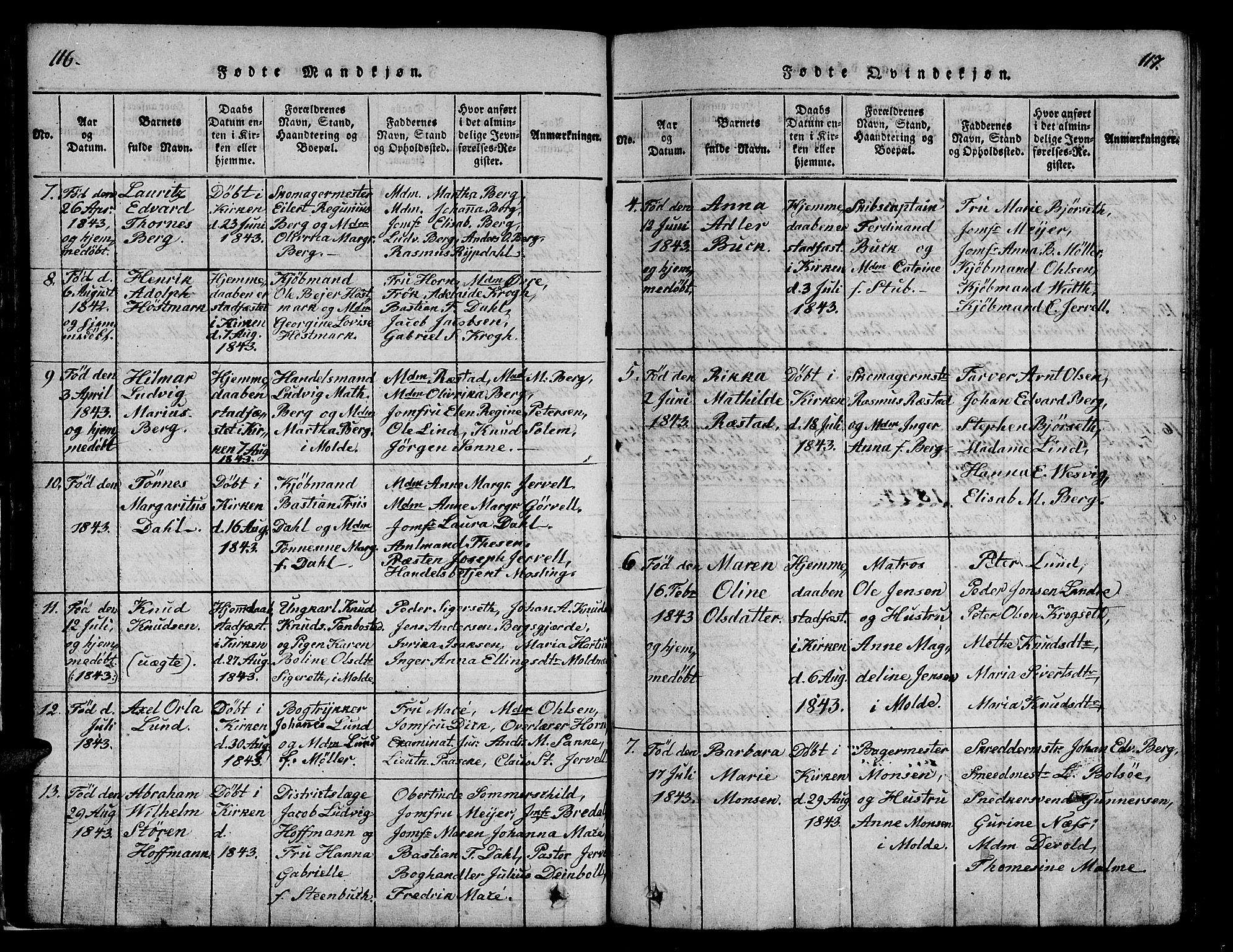 SAT, Ministerialprotokoller, klokkerbøker og fødselsregistre - Møre og Romsdal, 558/L0700: Klokkerbok nr. 558C01, 1818-1868, s. 116-117