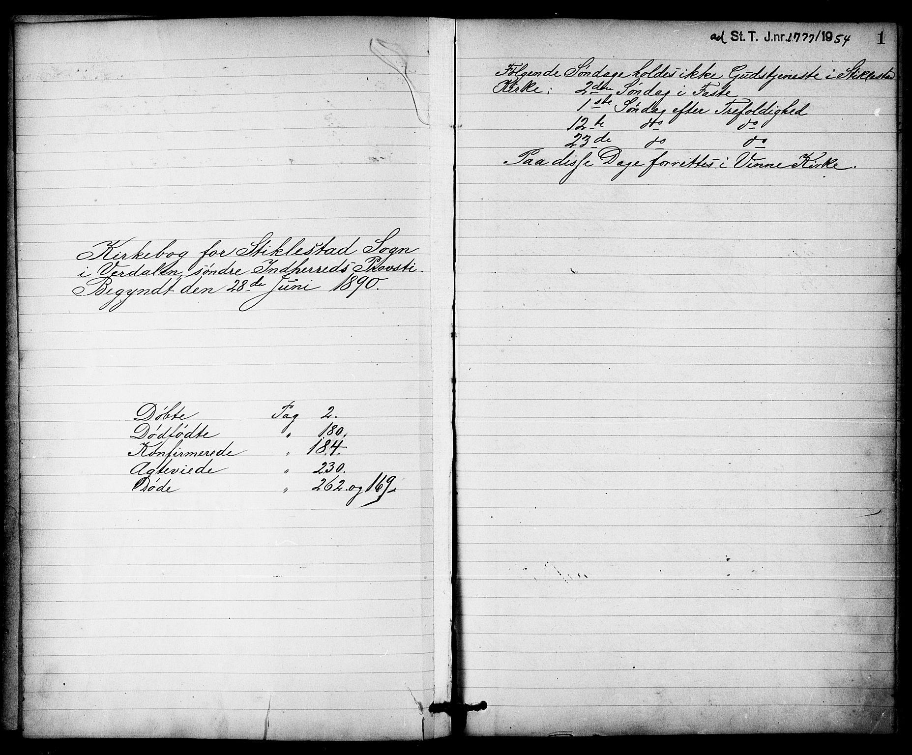SAT, Ministerialprotokoller, klokkerbøker og fødselsregistre - Nord-Trøndelag, 723/L0257: Klokkerbok nr. 723C05, 1890-1907, s. 1