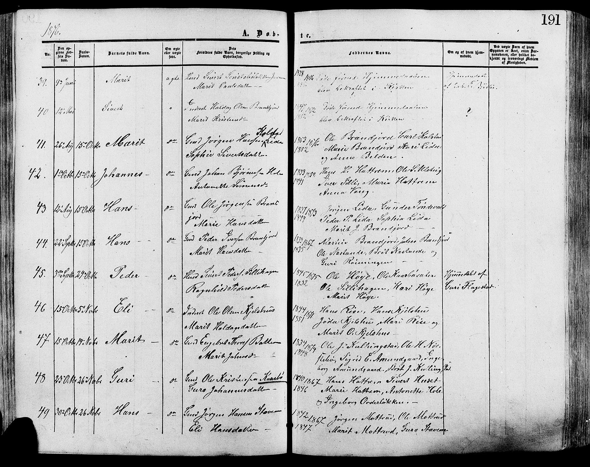 SAH, Lesja prestekontor, Ministerialbok nr. 8, 1854-1880, s. 191