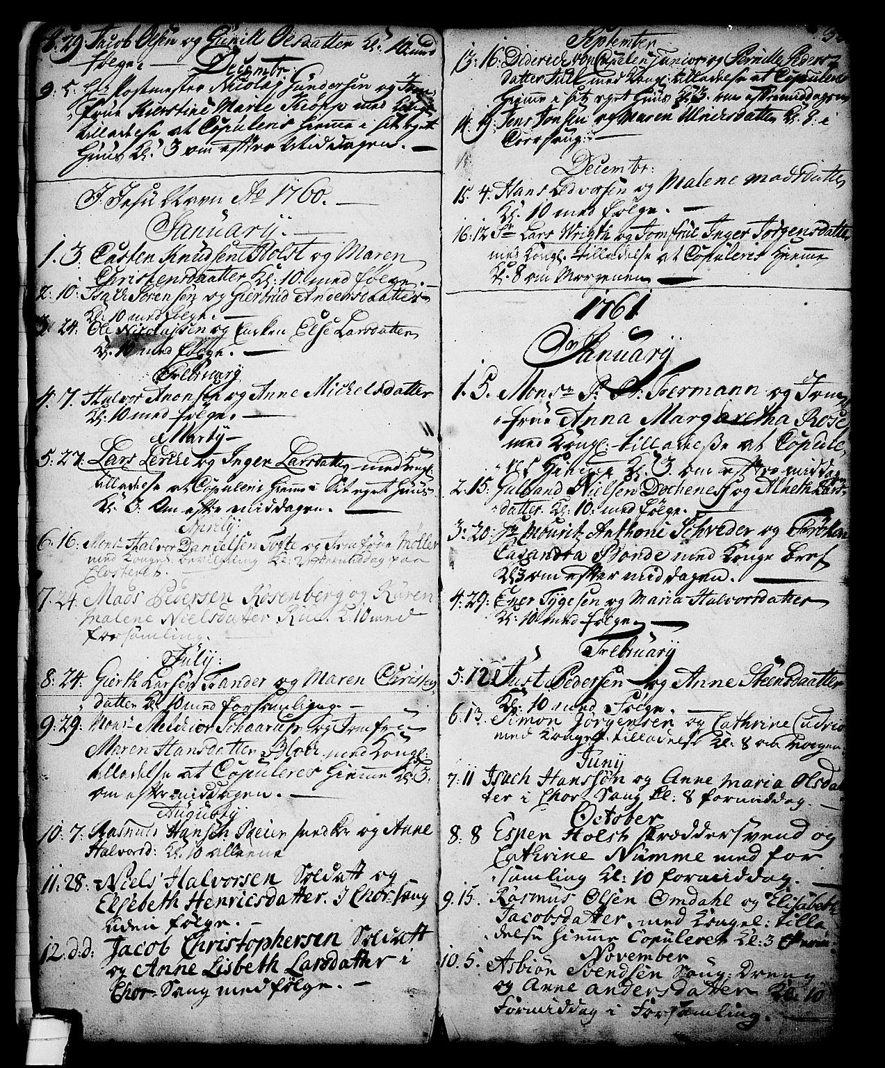 SAKO, Skien kirkebøker, G/Ga/L0001: Klokkerbok nr. 1, 1756-1791, s. 32