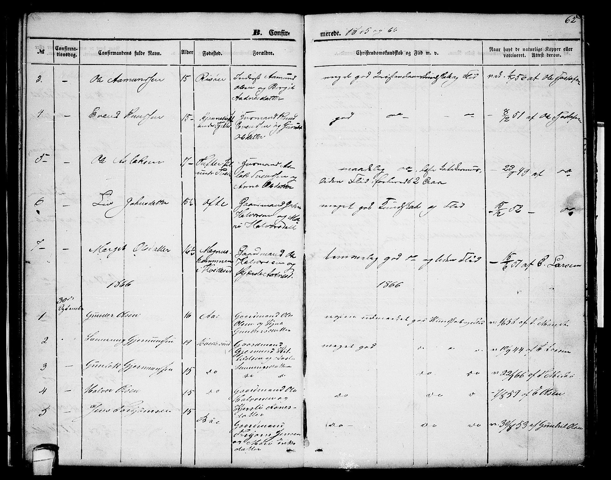 SAKO, Lårdal kirkebøker, G/Gc/L0002: Klokkerbok nr. III 2, 1852-1877, s. 62