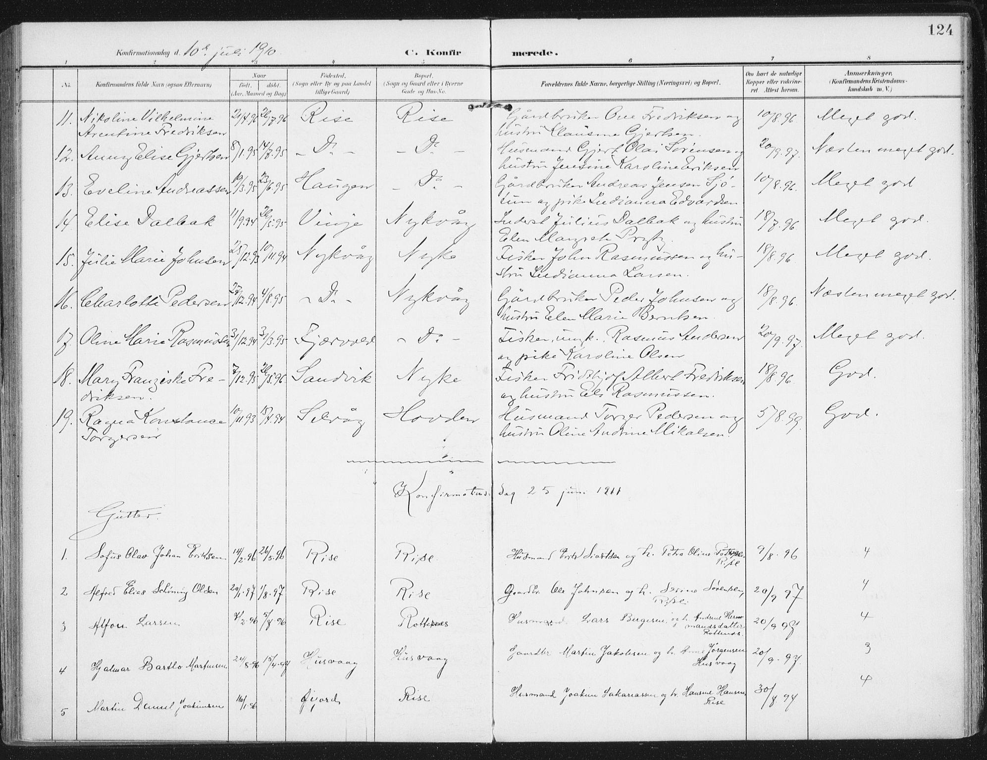 SAT, Ministerialprotokoller, klokkerbøker og fødselsregistre - Nordland, 892/L1321: Ministerialbok nr. 892A02, 1902-1918, s. 124