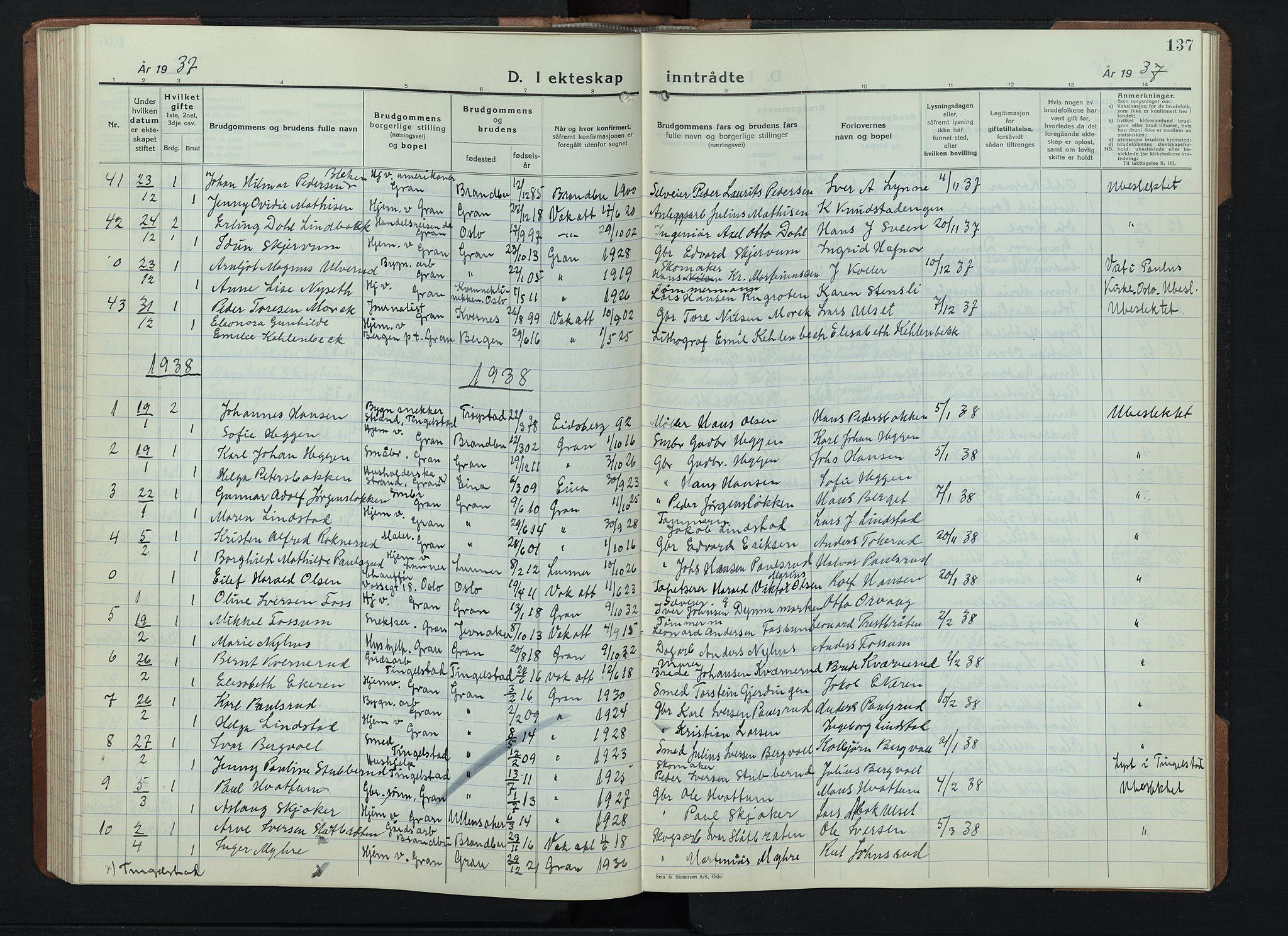 SAH, Gran prestekontor, Klokkerbok nr. 9, 1933-1950, s. 137