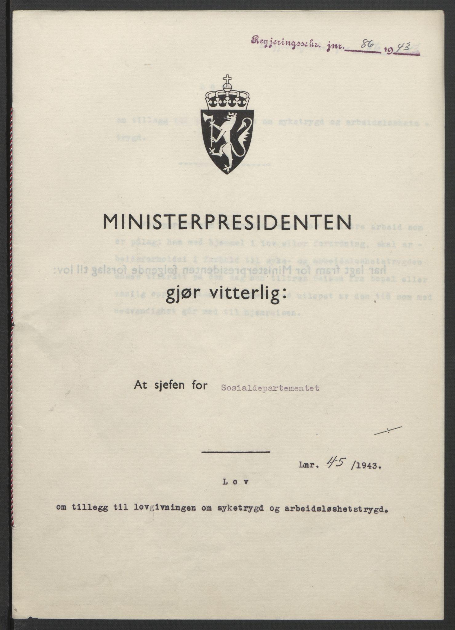 RA, NS-administrasjonen 1940-1945 (Statsrådsekretariatet, de kommisariske statsråder mm), D/Db/L0099: Lover, 1943, s. 196