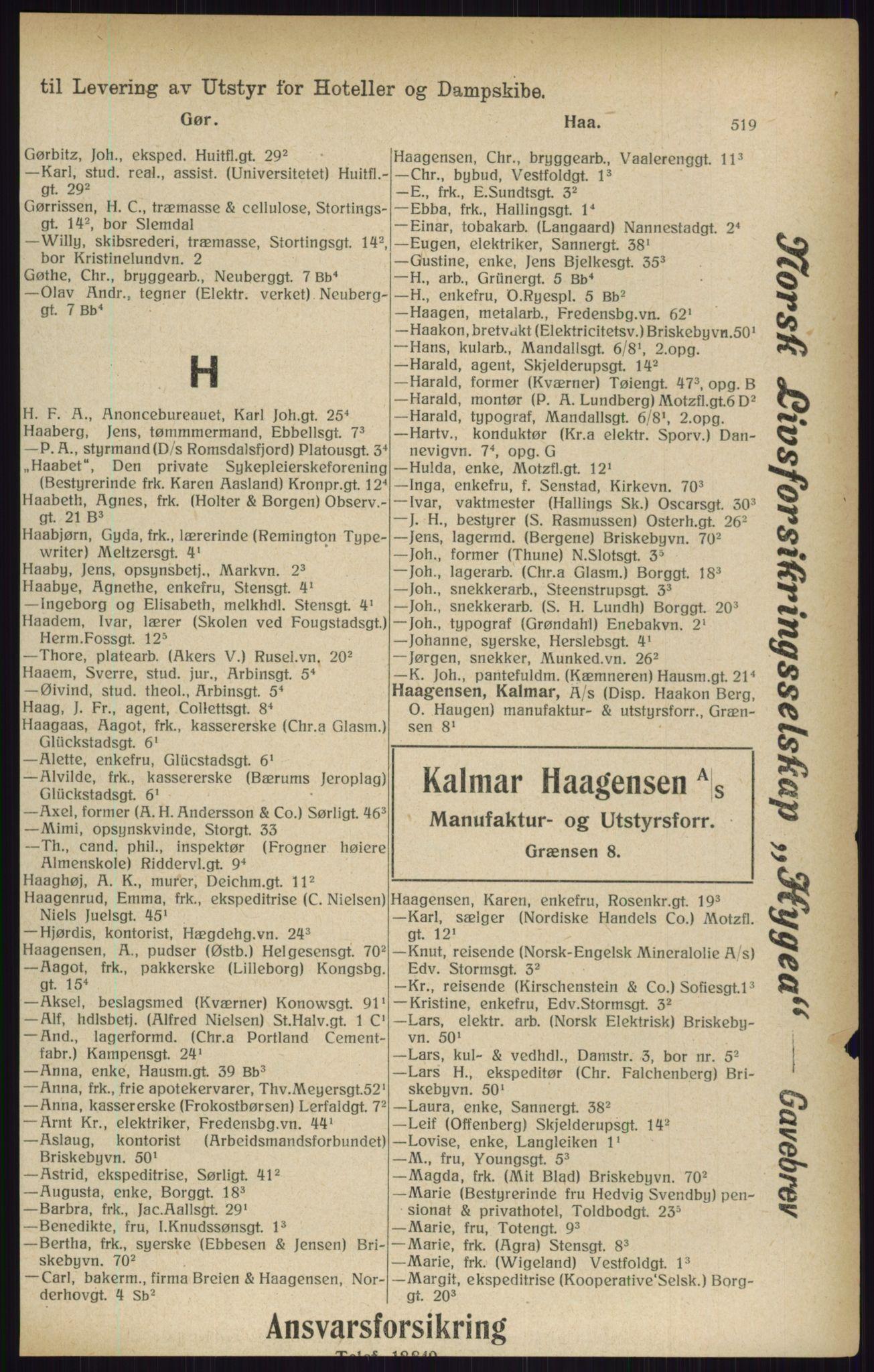 RA, Kristiania adressebok (publikasjon)*, 1916, s. 519