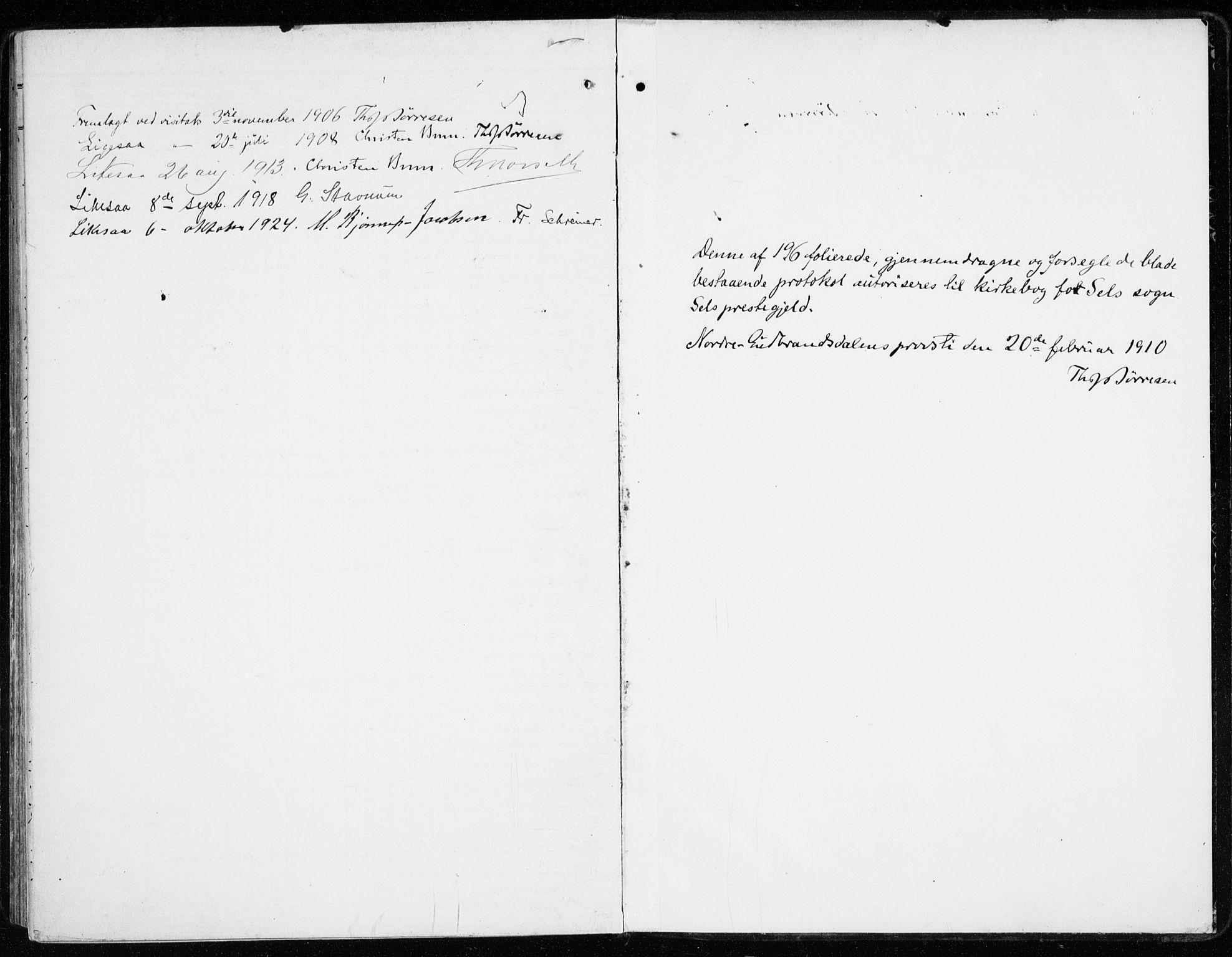 SAH, Sel prestekontor, Ministerialbok nr. 2, 1905-1919