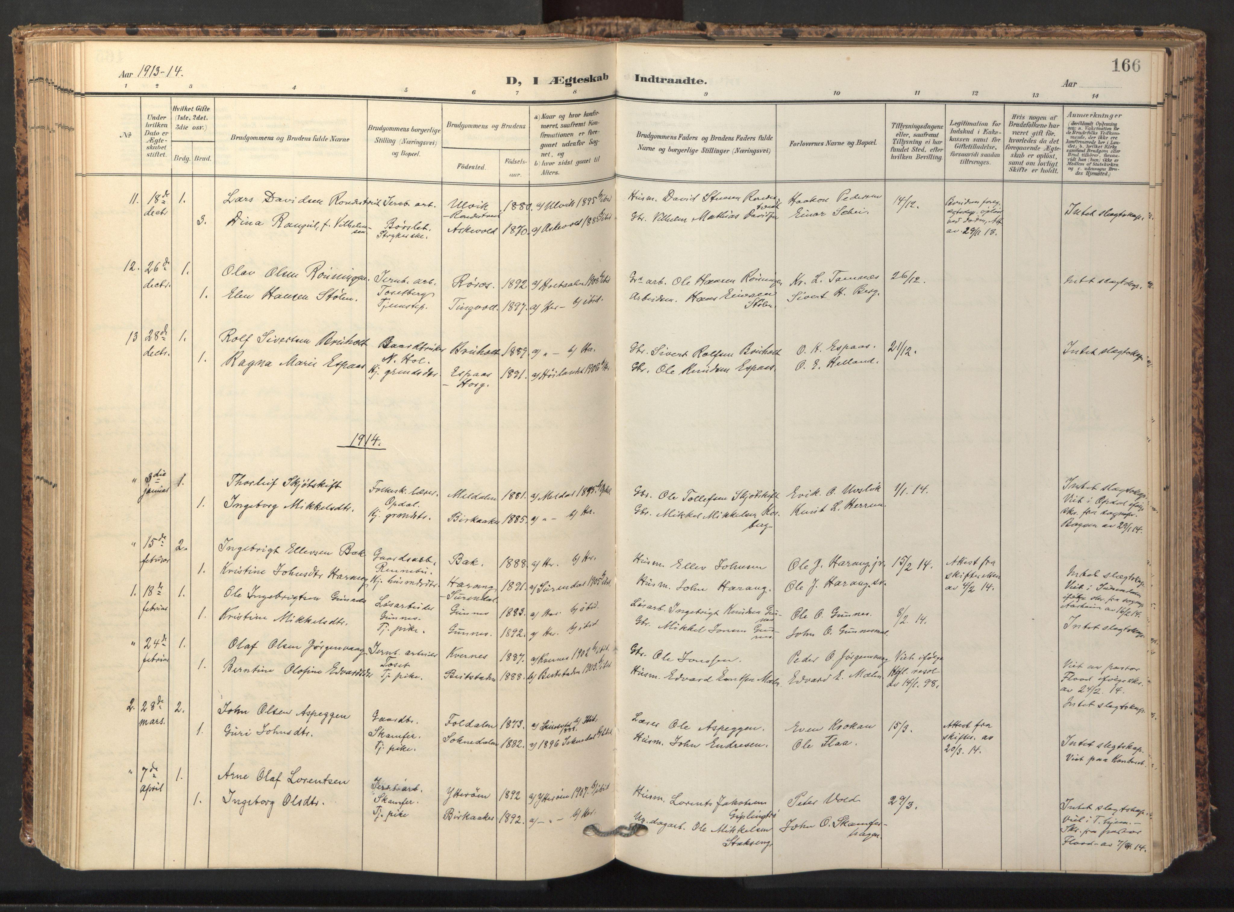 SAT, Ministerialprotokoller, klokkerbøker og fødselsregistre - Sør-Trøndelag, 674/L0873: Ministerialbok nr. 674A05, 1908-1923, s. 166