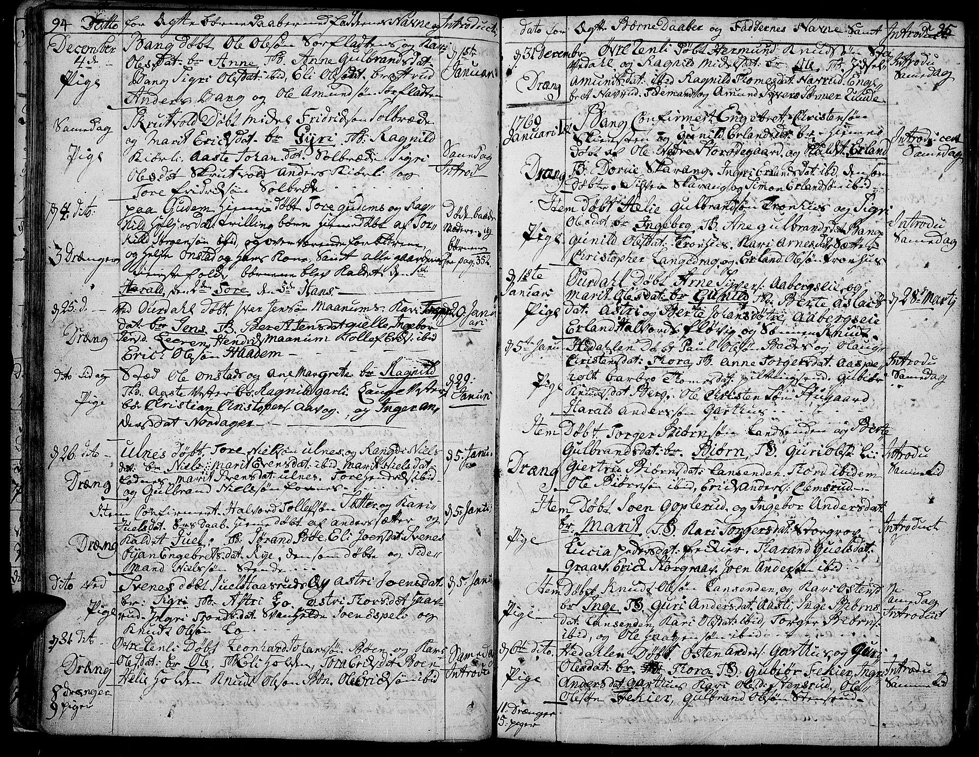 SAH, Aurdal prestekontor, Ministerialbok nr. 5, 1763-1781, s. 94-95