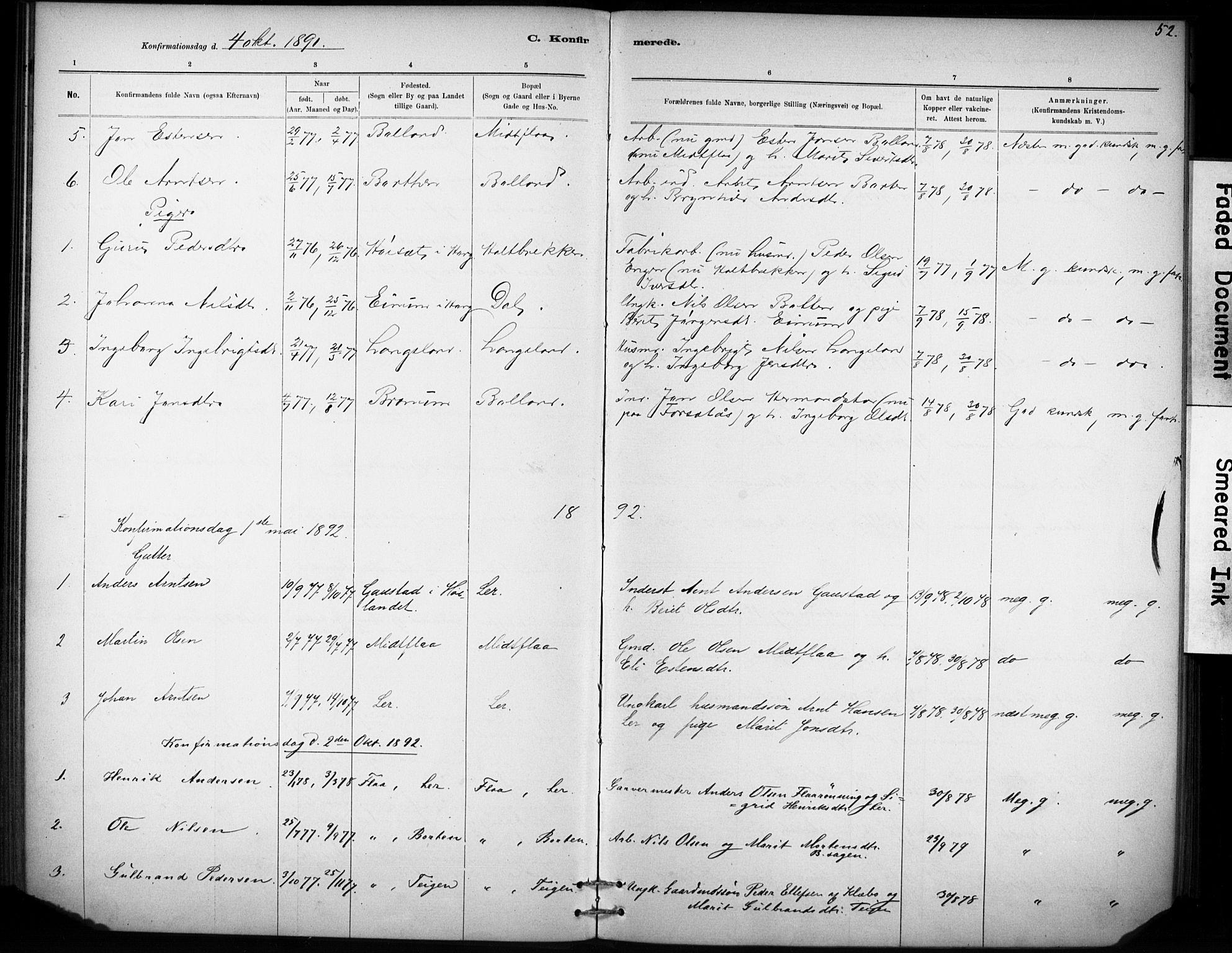 SAT, Ministerialprotokoller, klokkerbøker og fødselsregistre - Sør-Trøndelag, 693/L1119: Ministerialbok nr. 693A01, 1887-1905, s. 52