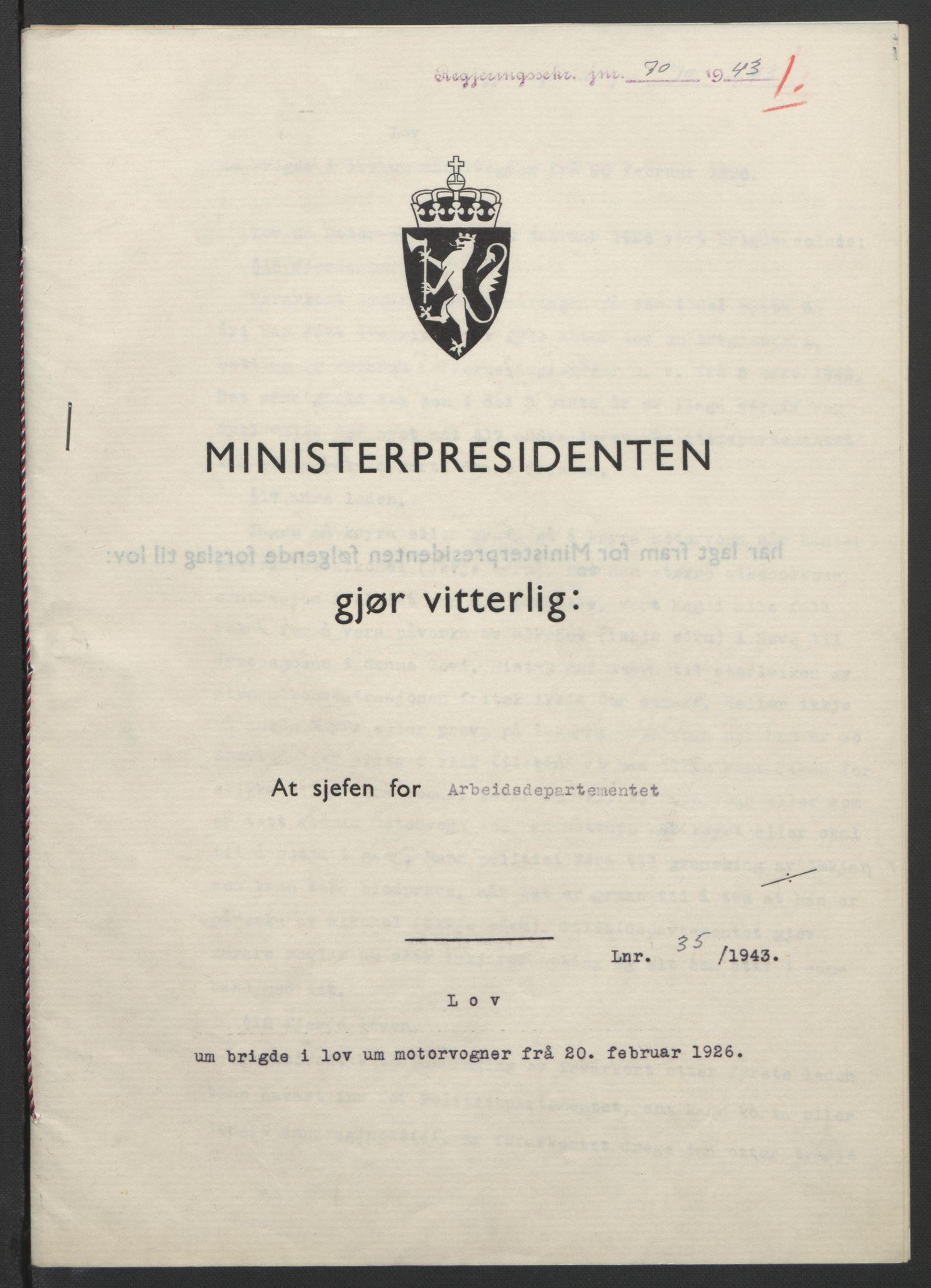 RA, NS-administrasjonen 1940-1945 (Statsrådsekretariatet, de kommisariske statsråder mm), D/Db/L0099: Lover, 1943, s. 146