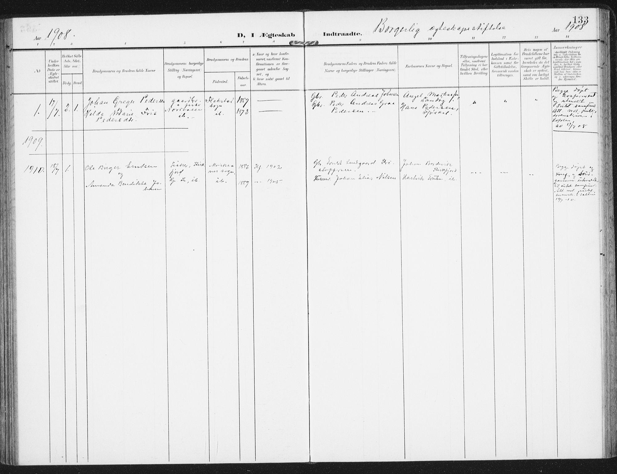 SAT, Ministerialprotokoller, klokkerbøker og fødselsregistre - Nordland, 885/L1206: Ministerialbok nr. 885A07, 1905-1915, s. 133