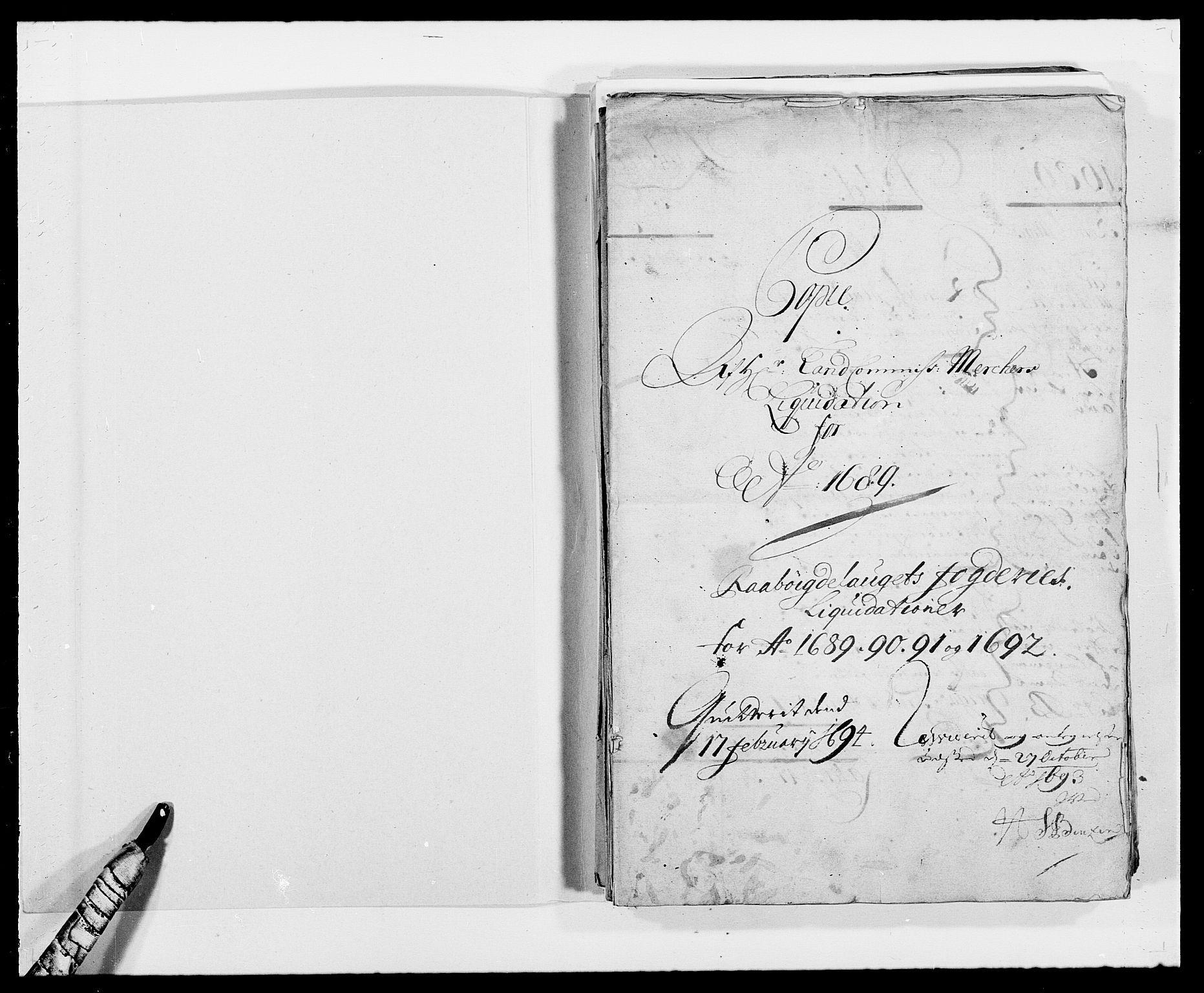 RA, Rentekammeret inntil 1814, Reviderte regnskaper, Fogderegnskap, R40/L2442: Fogderegnskap Råbyggelag, 1689-1690, s. 2