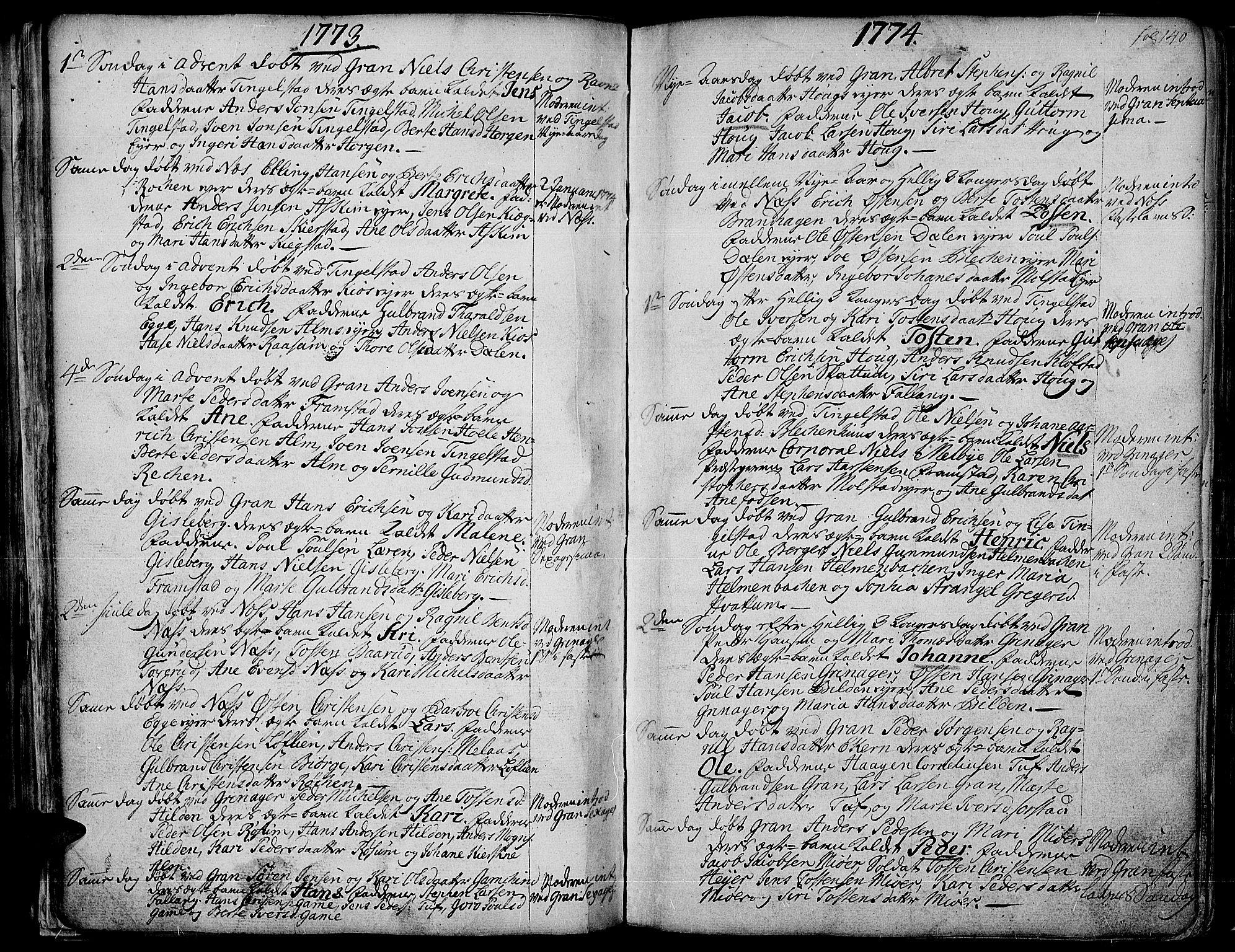 SAH, Gran prestekontor, Ministerialbok nr. 4, 1759-1775, s. 140