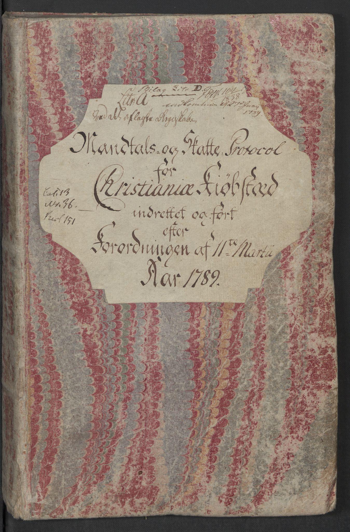 RA, Rentekammeret inntil 1814, Reviderte regnskaper, Mindre regnskaper, Rf/Rfe/L0006: Christiania, 1789, s. 3