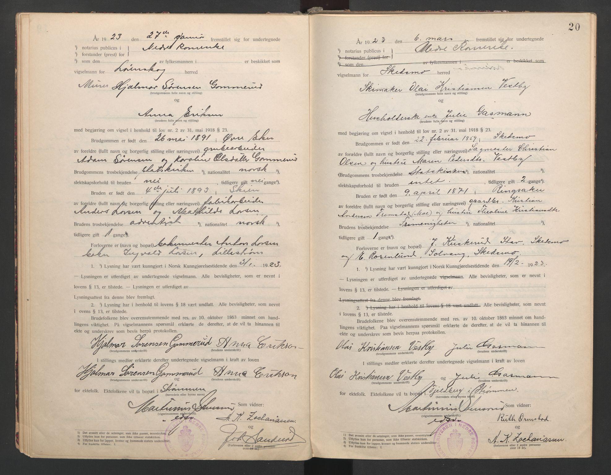 SAO, Nedre Romerike sorenskriveri, L/Lb/L0001: Vigselsbok - borgerlige vielser, 1920-1935, s. 20