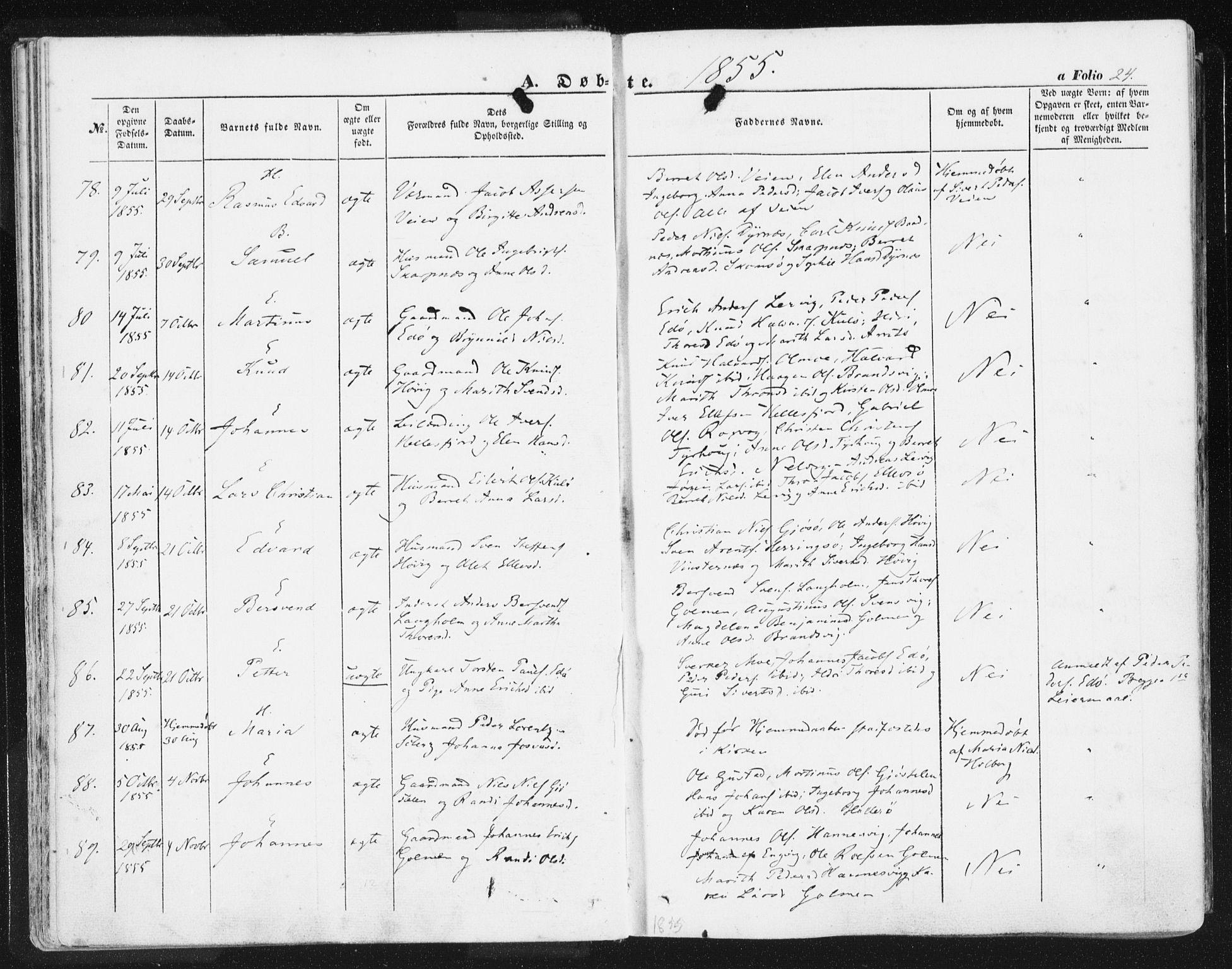 SAT, Ministerialprotokoller, klokkerbøker og fødselsregistre - Møre og Romsdal, 581/L0937: Ministerialbok nr. 581A05, 1853-1872, s. 24