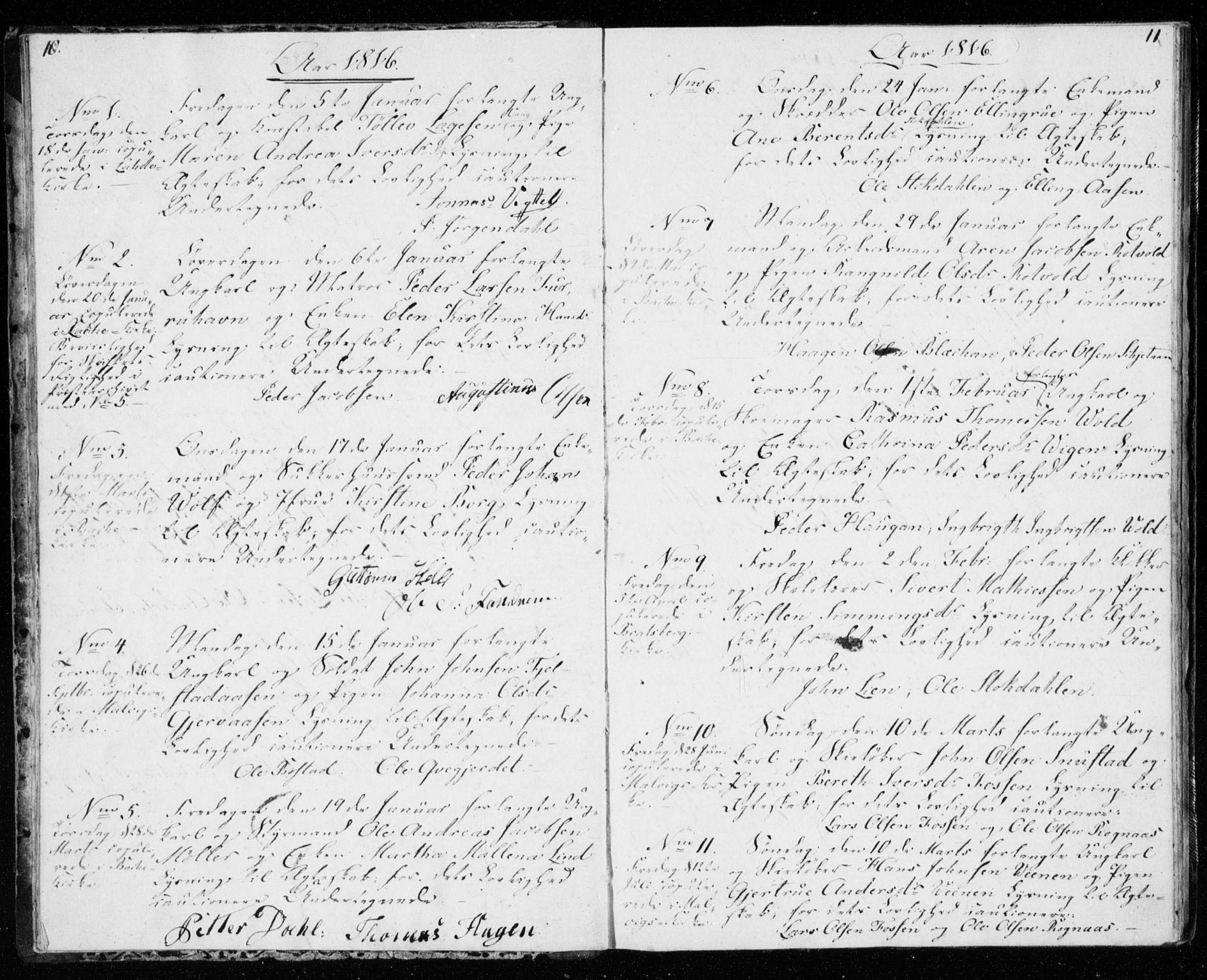 SAT, Ministerialprotokoller, klokkerbøker og fødselsregistre - Sør-Trøndelag, 606/L0295: Lysningsprotokoll nr. 606A10, 1815-1833, s. 10-11