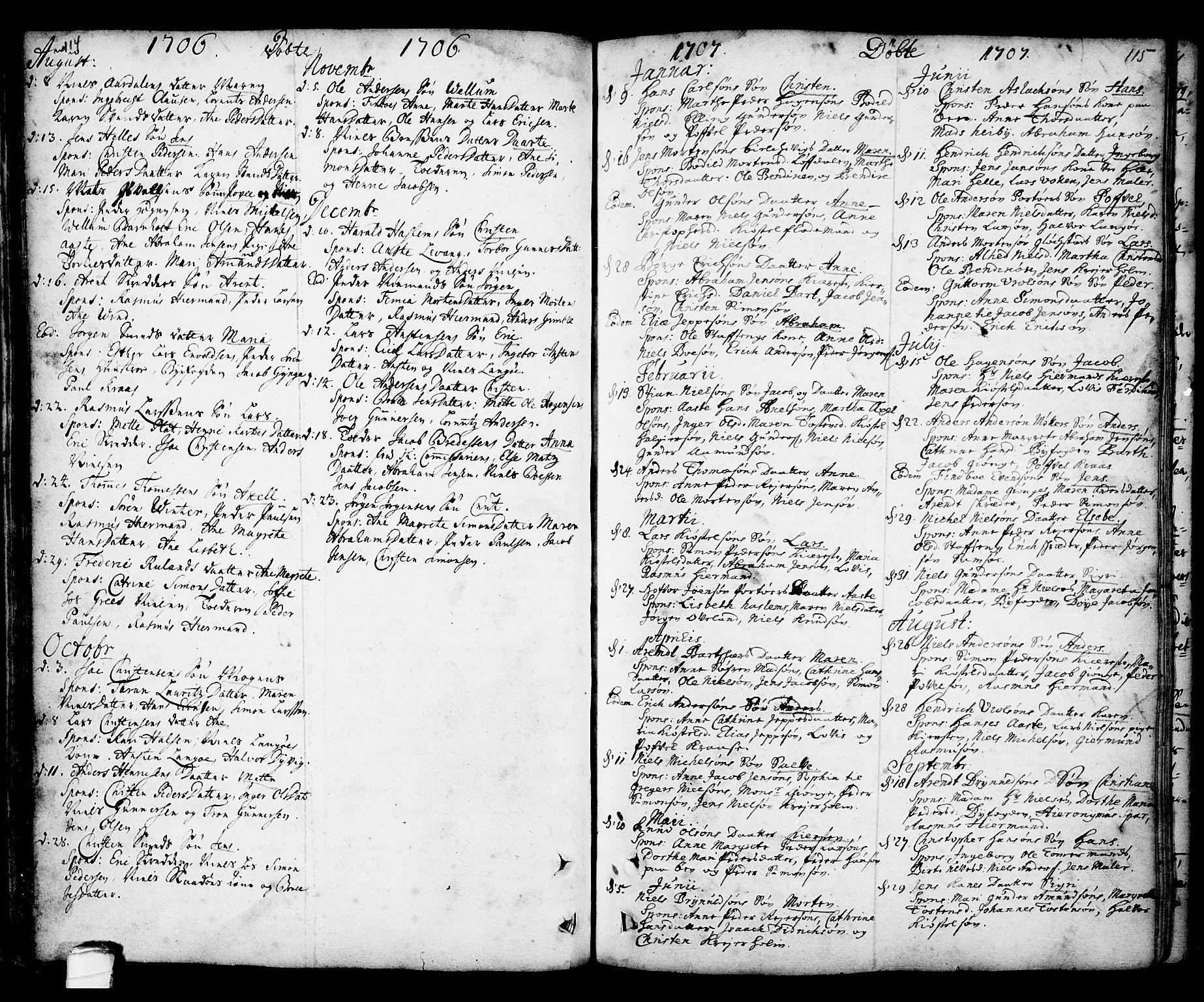 SAKO, Kragerø kirkebøker, F/Fa/L0001: Ministerialbok nr. 1, 1702-1766, s. 114-115