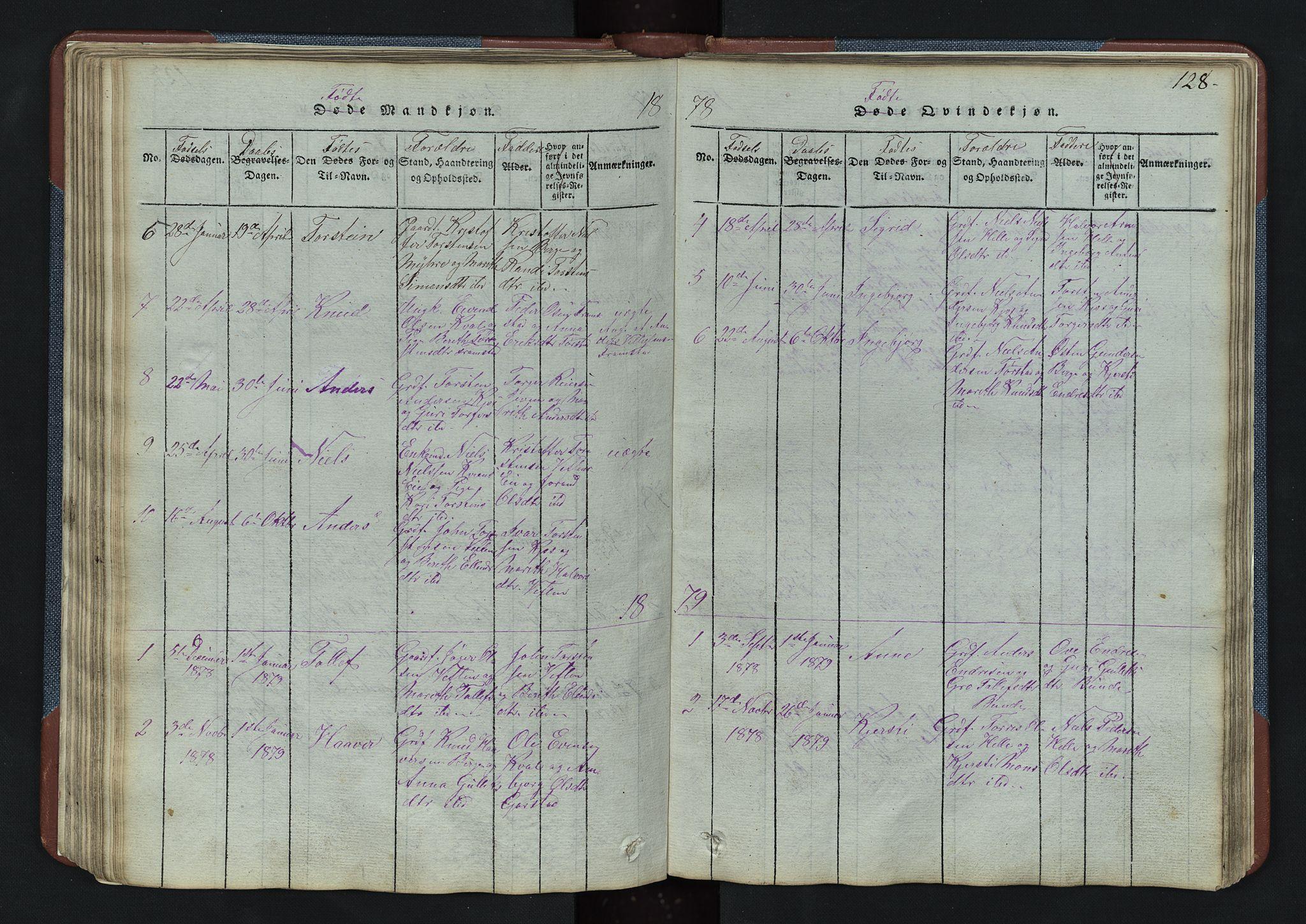 SAH, Vang prestekontor, Valdres, Klokkerbok nr. 3, 1814-1892, s. 128