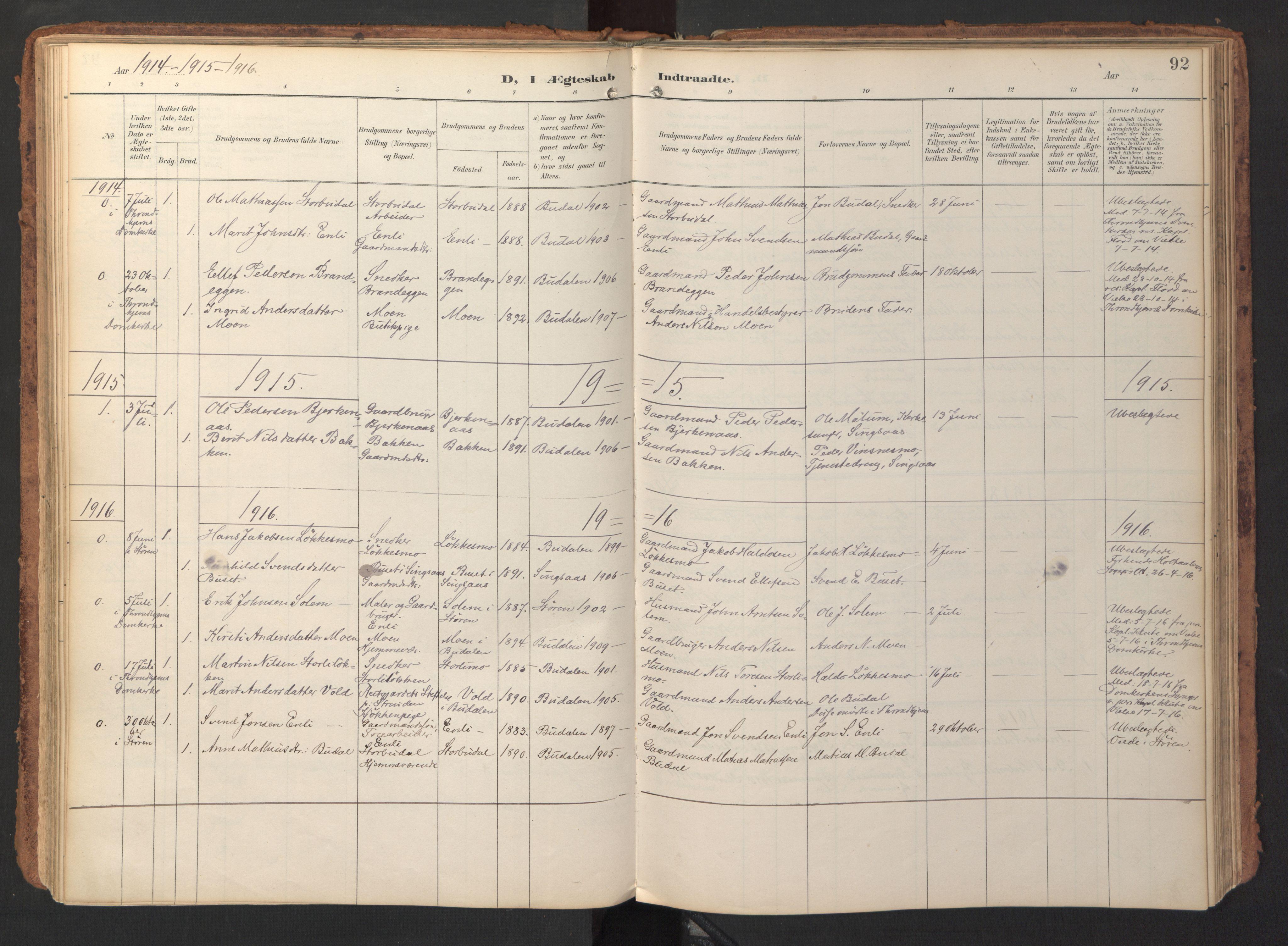 SAT, Ministerialprotokoller, klokkerbøker og fødselsregistre - Sør-Trøndelag, 690/L1050: Ministerialbok nr. 690A01, 1889-1929, s. 92