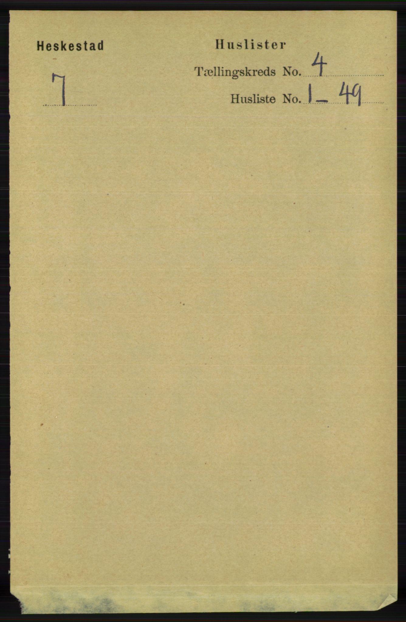 RA, Folketelling 1891 for 1113 Heskestad herred, 1891, s. 490