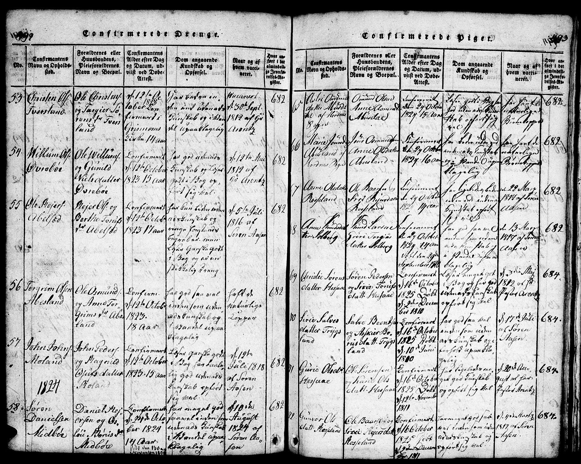 SAK, Bjelland sokneprestkontor, F/Fb/Fba/L0003: Klokkerbok nr. B 3, 1816-1870, s. 492-493