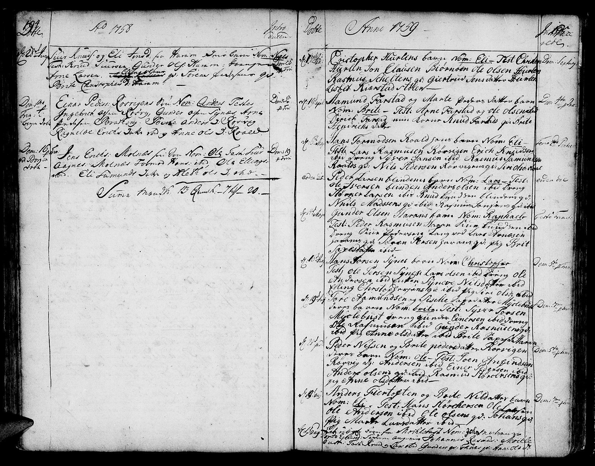 SAT, Ministerialprotokoller, klokkerbøker og fødselsregistre - Møre og Romsdal, 536/L0493: Ministerialbok nr. 536A02, 1739-1802, s. 194-195