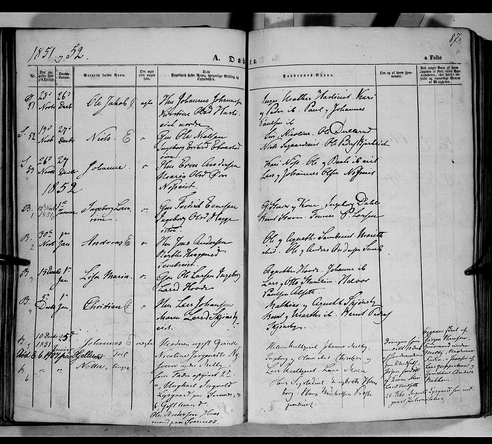 SAH, Biri prestekontor, Ministerialbok nr. 5, 1843-1854, s. 87