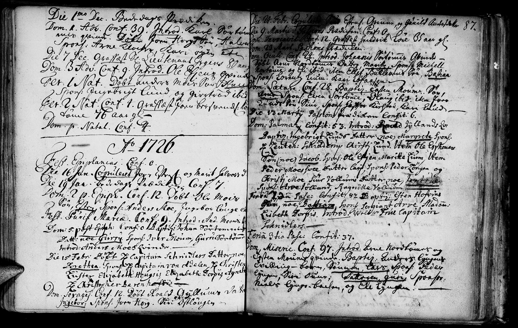 SAT, Ministerialprotokoller, klokkerbøker og fødselsregistre - Sør-Trøndelag, 692/L1101: Ministerialbok nr. 692A01, 1690-1746, s. 87