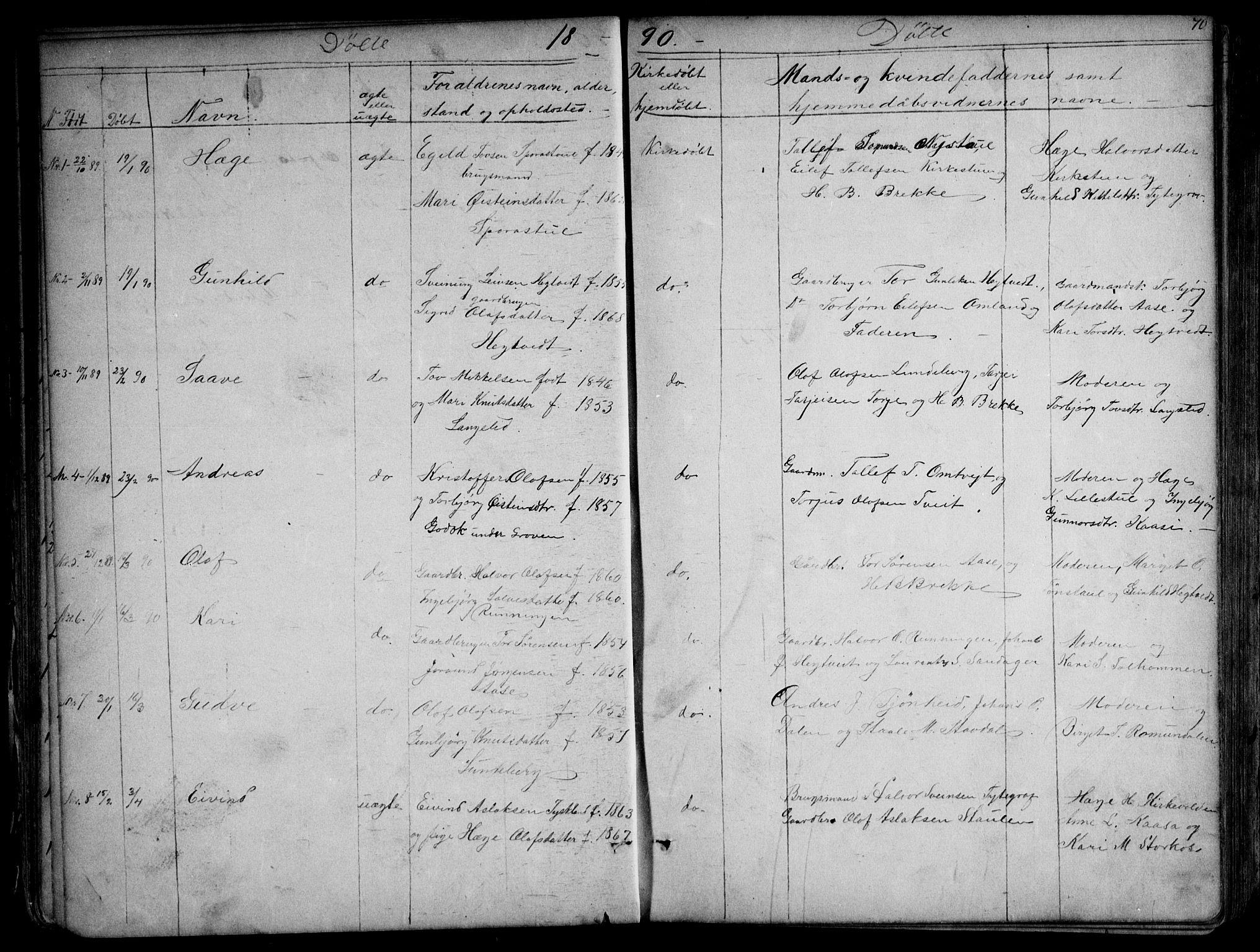 SAKO, Kviteseid kirkebøker, G/Gb/L0002: Klokkerbok nr. II 2, 1850-1892, s. 70