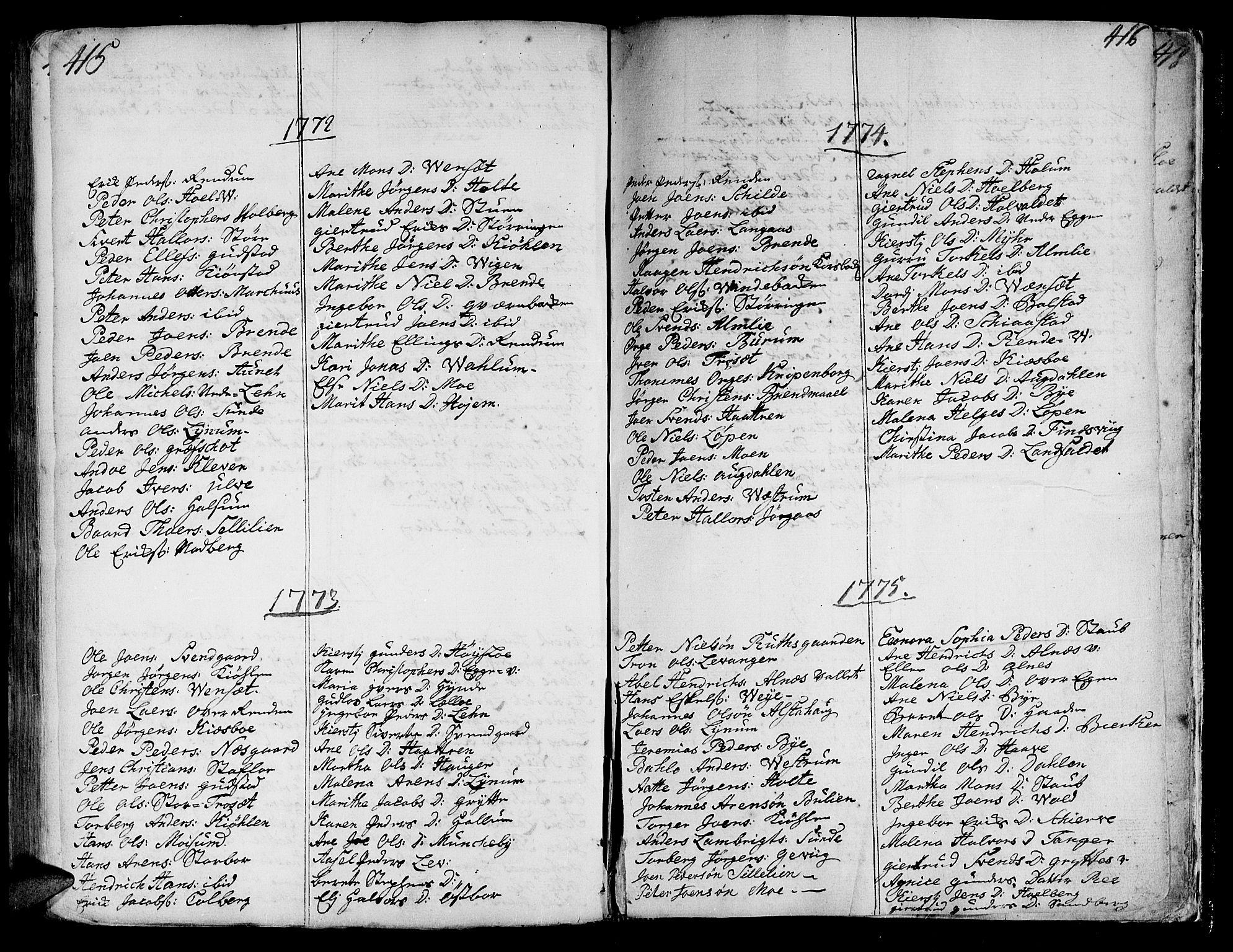 SAT, Ministerialprotokoller, klokkerbøker og fødselsregistre - Nord-Trøndelag, 717/L0141: Ministerialbok nr. 717A01, 1747-1803, s. 415-416