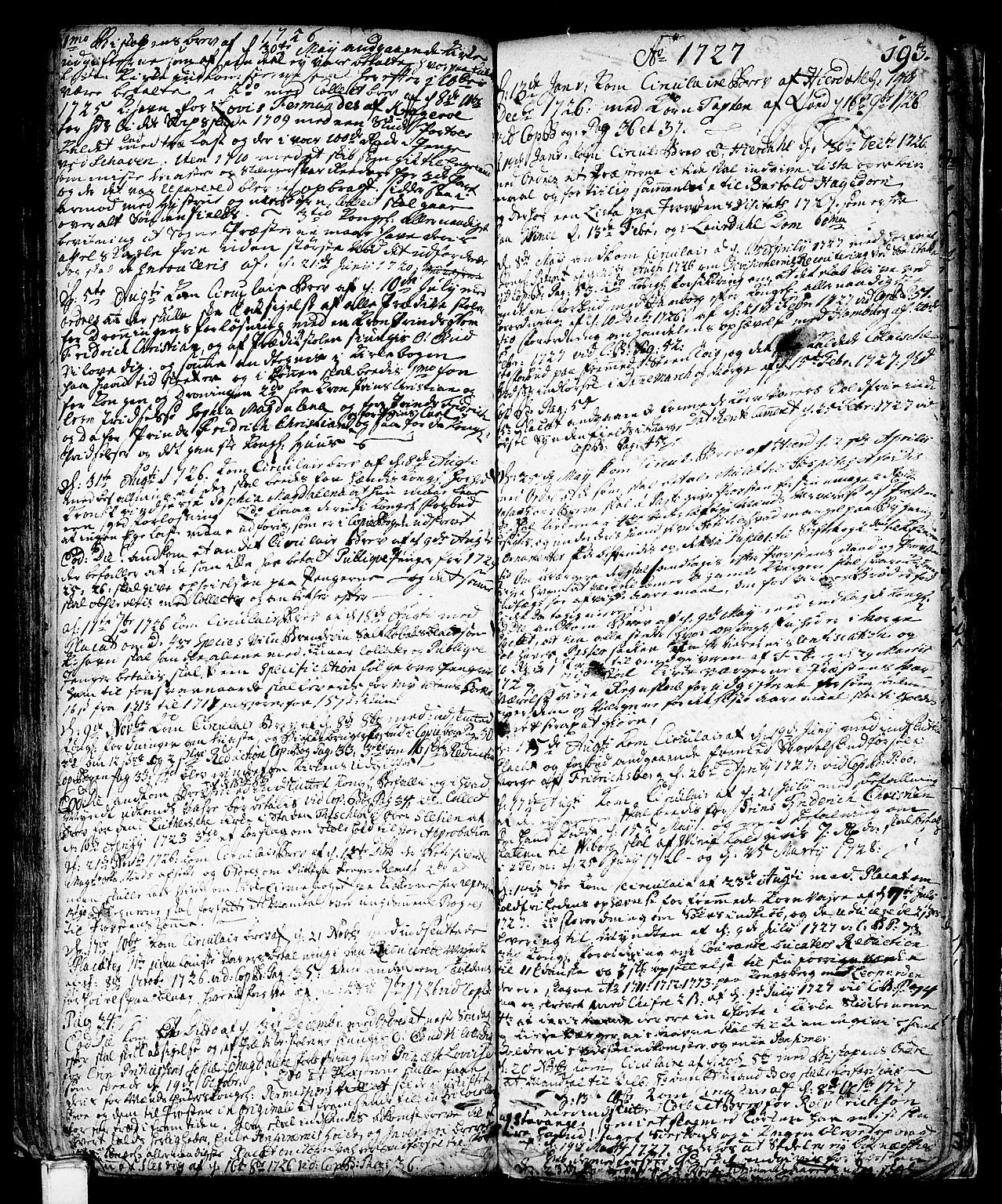 SAKO, Vinje kirkebøker, F/Fa/L0001: Ministerialbok nr. I 1, 1717-1766, s. 193