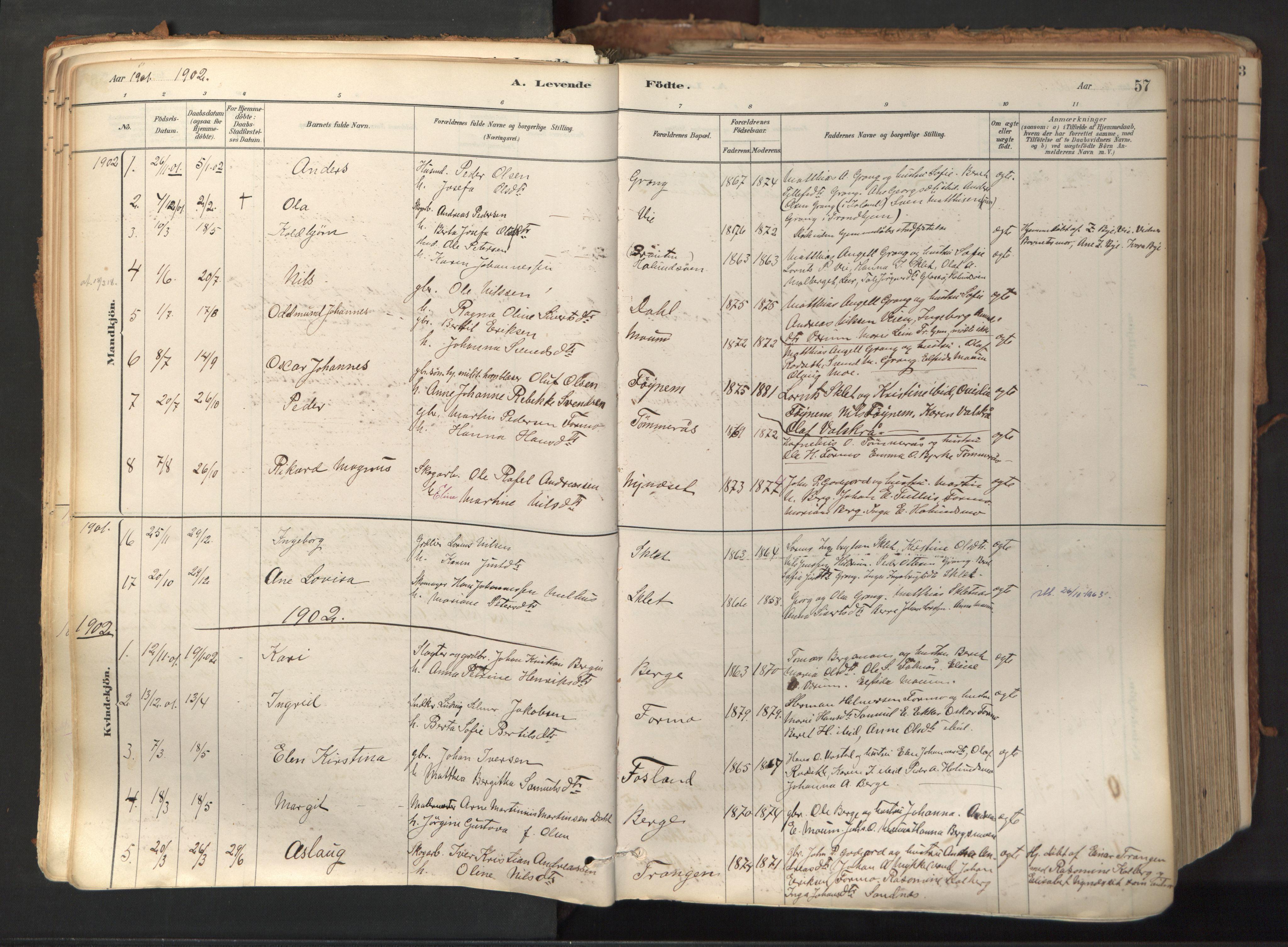 SAT, Ministerialprotokoller, klokkerbøker og fødselsregistre - Nord-Trøndelag, 758/L0519: Ministerialbok nr. 758A04, 1880-1926, s. 57