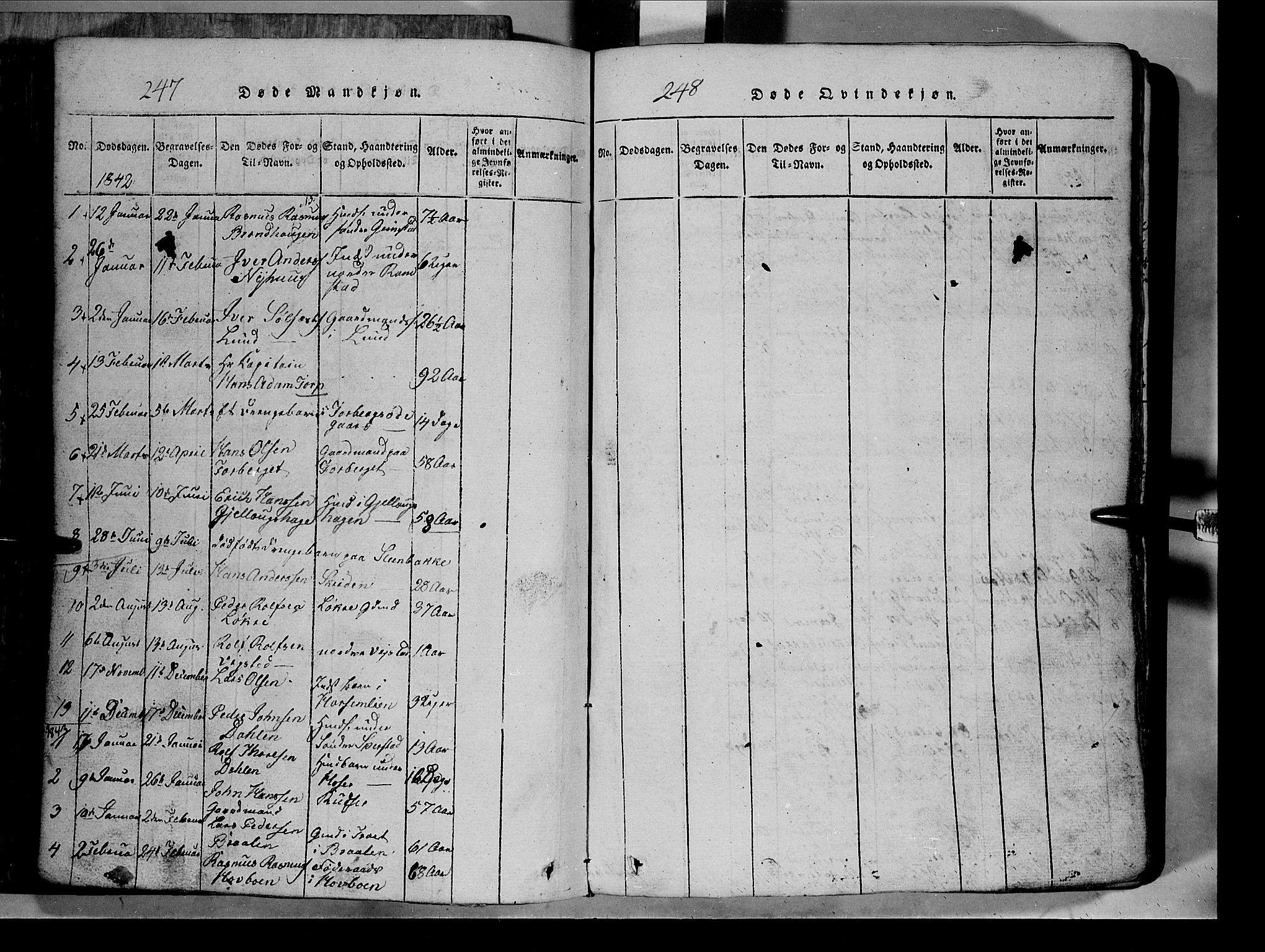 SAH, Lom prestekontor, L/L0003: Klokkerbok nr. 3, 1815-1844, s. 247-248