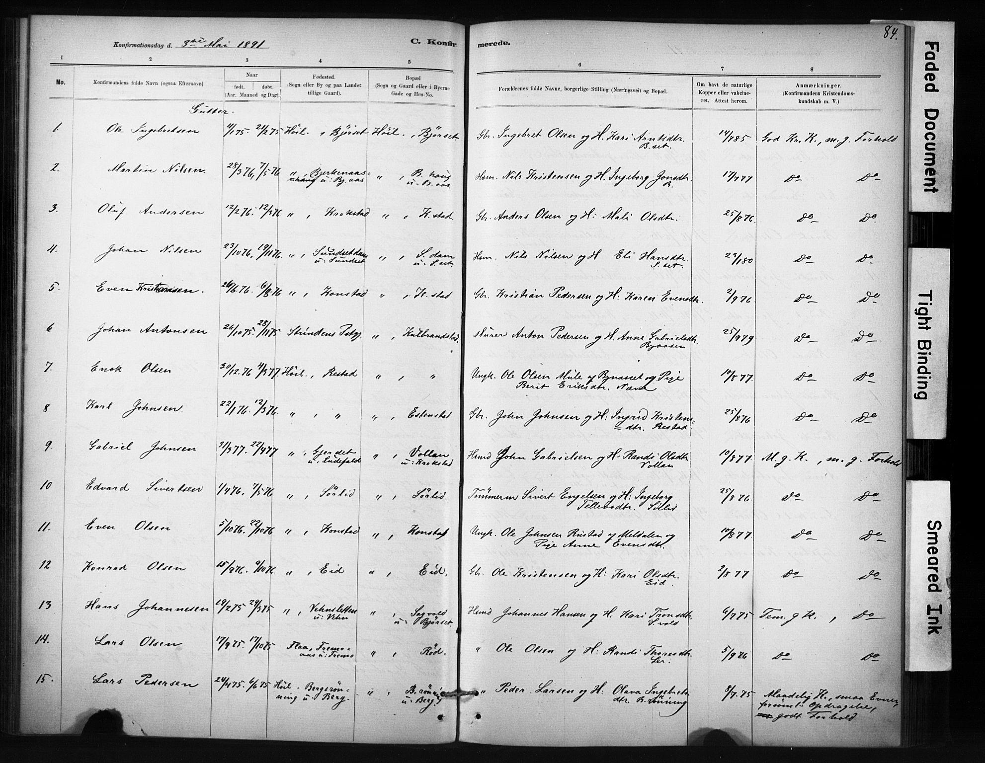 SAT, Ministerialprotokoller, klokkerbøker og fødselsregistre - Sør-Trøndelag, 694/L1127: Ministerialbok nr. 694A01, 1887-1905, s. 84