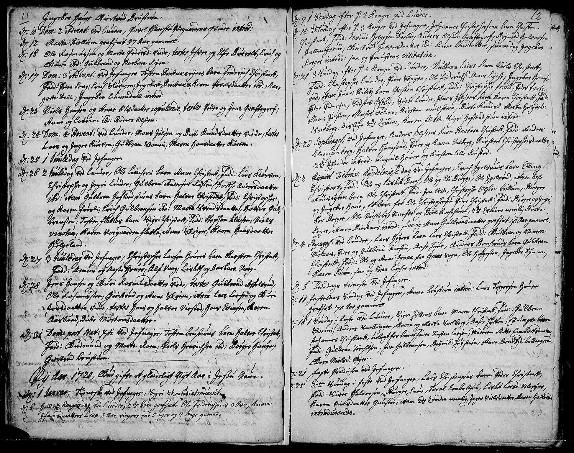 SAH, Jevnaker prestekontor, Ministerialbok nr. 1, 1718-1725, s. 11-12
